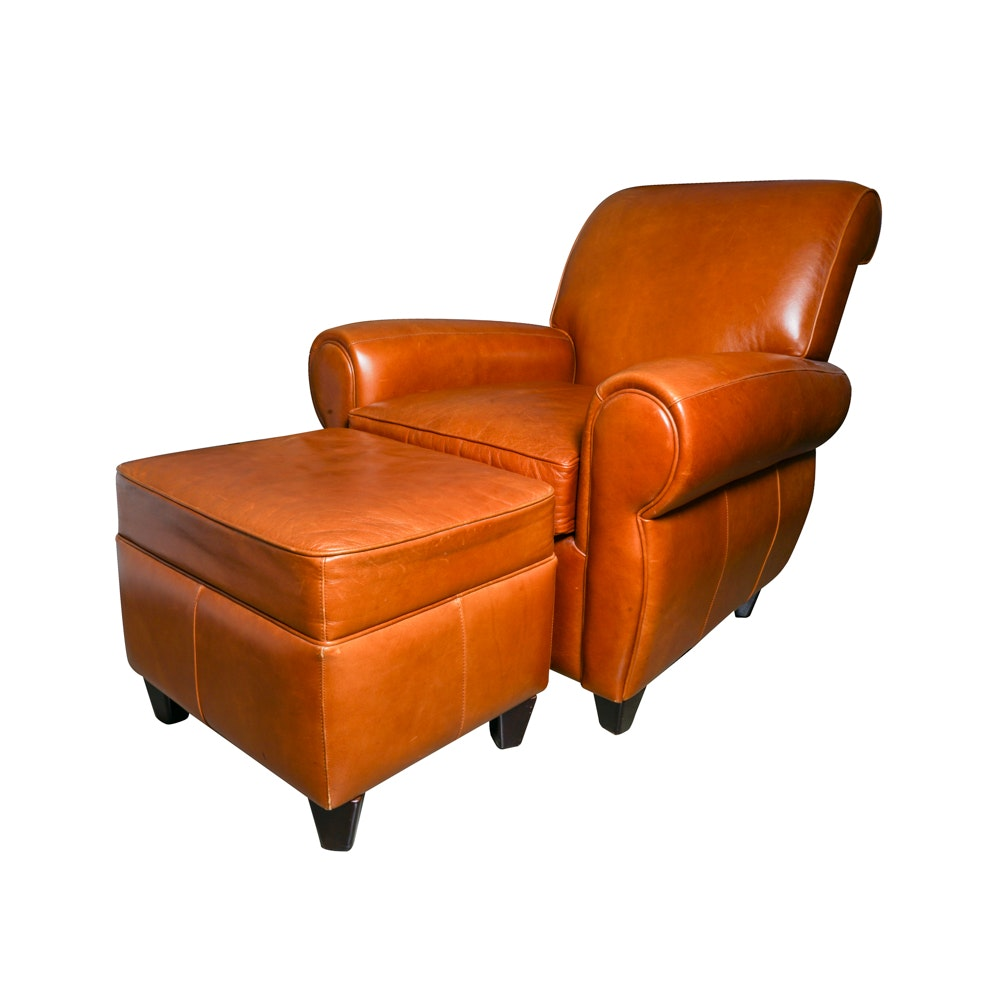 Russet Colored Leather Lounge Chair and Ottoman