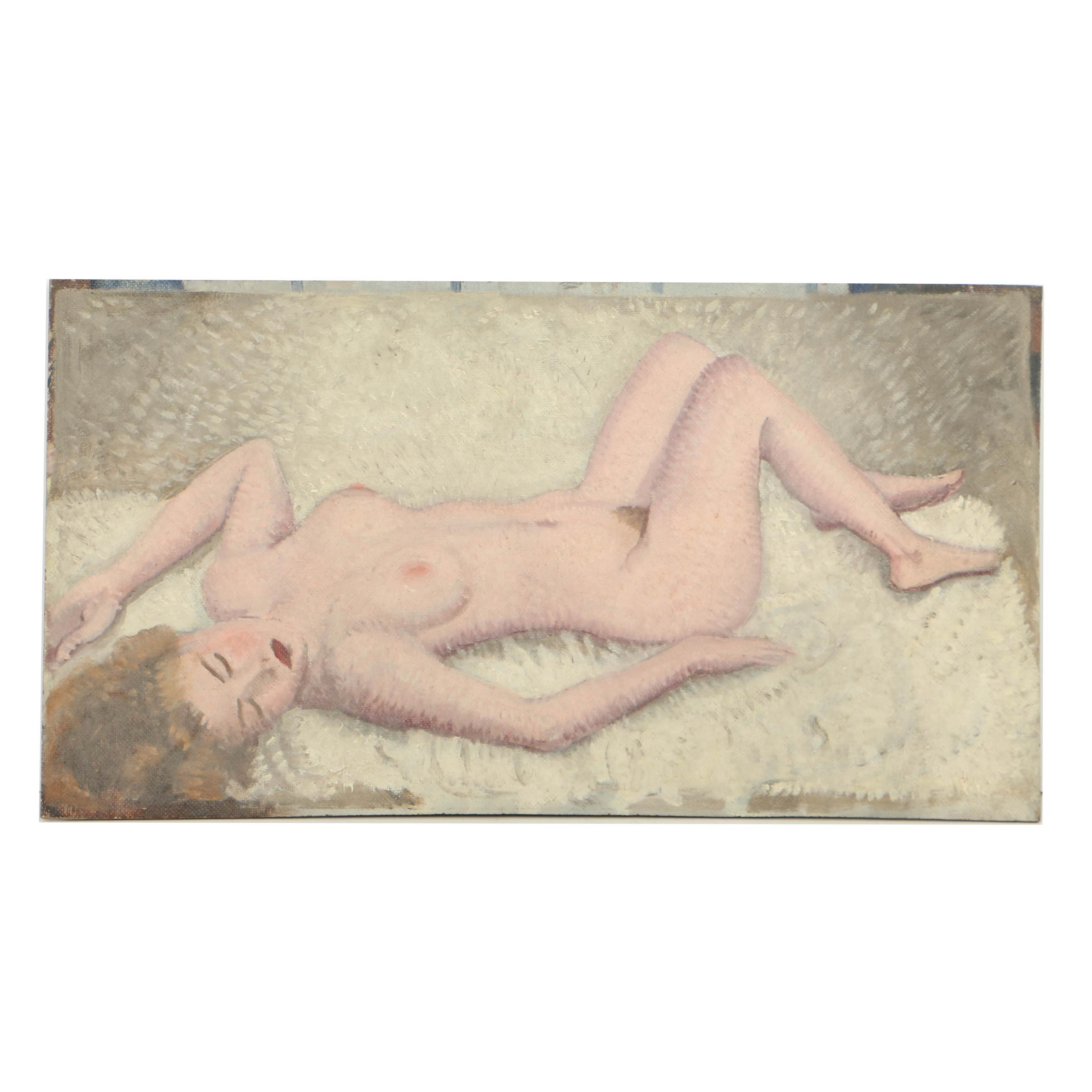 Lawrence McConaha Oil Painting on Board of Nude Female Figure