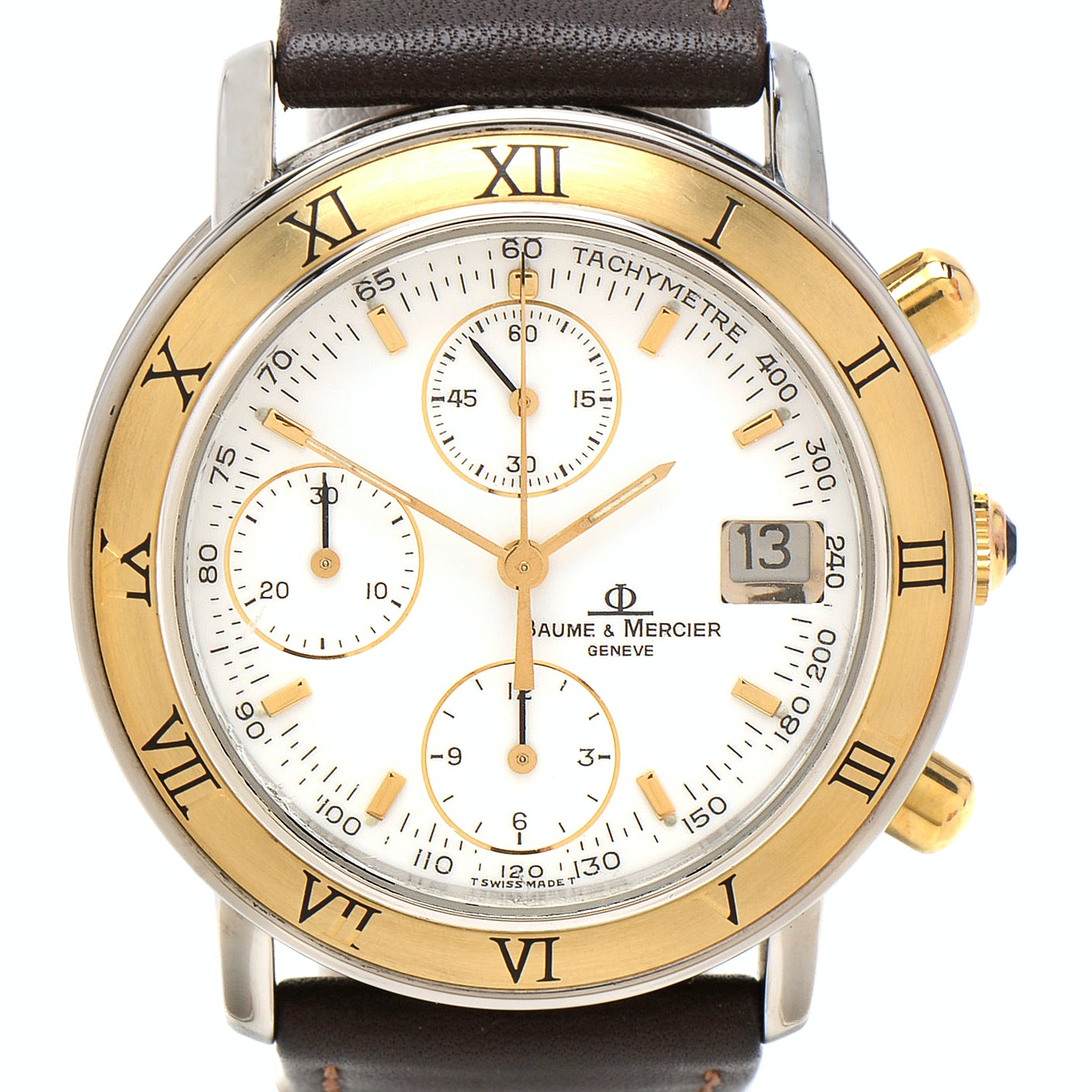 Baume & Mercier Baumatic 18K Bezel Chronograph Automatic 37mm Steel Wristwatch