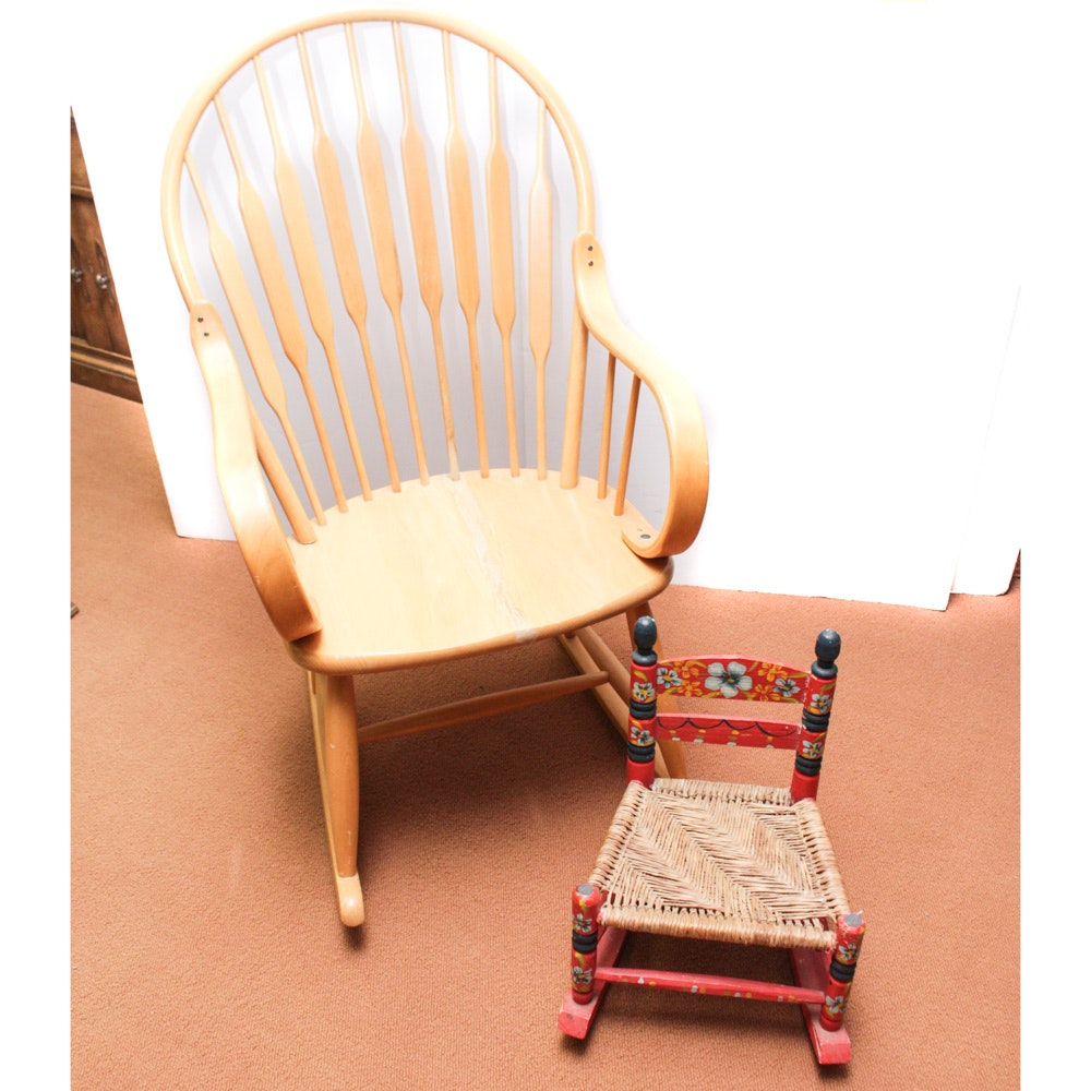Kipp Stewart Style Rocking Chair and Hand Painted Child Sized Rocking Chair