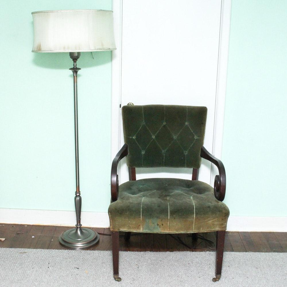 Vintage Rembrandt Lamps Floor Lamp and Vintage Chair Pairing