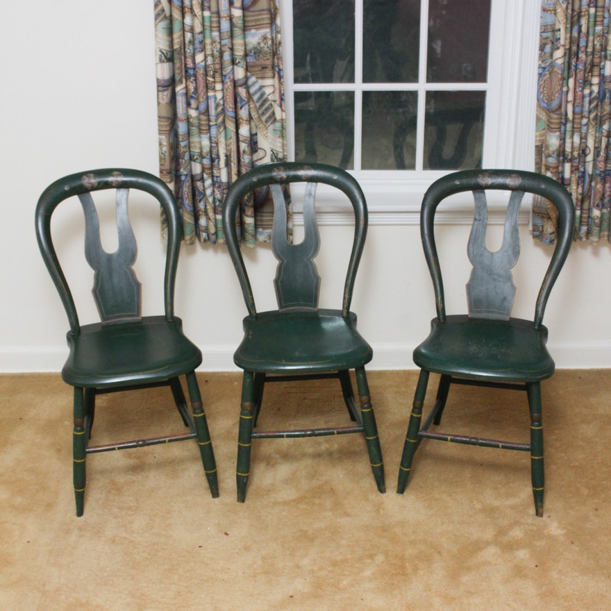 Three Antique Balloon Back Chairs ... - Three Antique Balloon Back Chairs : EBTH