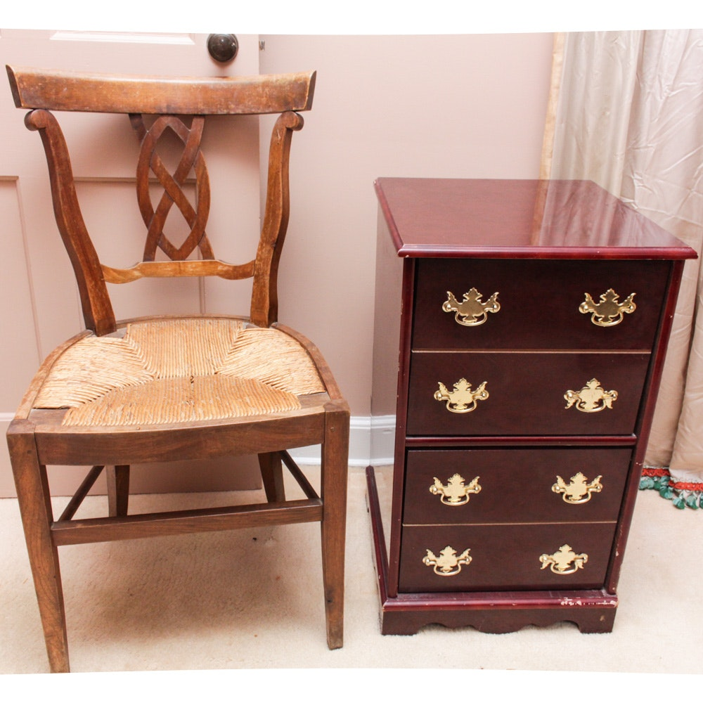 Vintage Wooden Filing Cabinet and Side Chair