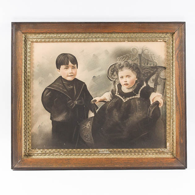 Antique Framed Tinted Watercolor Portrait of Two Children