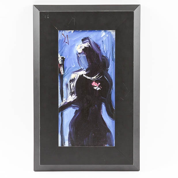 "Paula Jones Original Abstract Painting ""Singing the Blues Alone"""