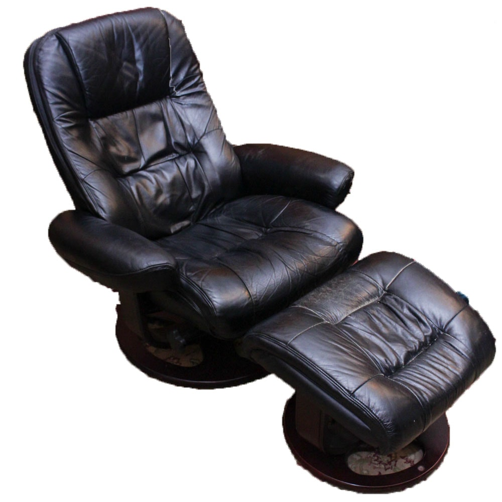 "Lane Matched Leather ""Rebel"" Recliner Chair with Ottoman"