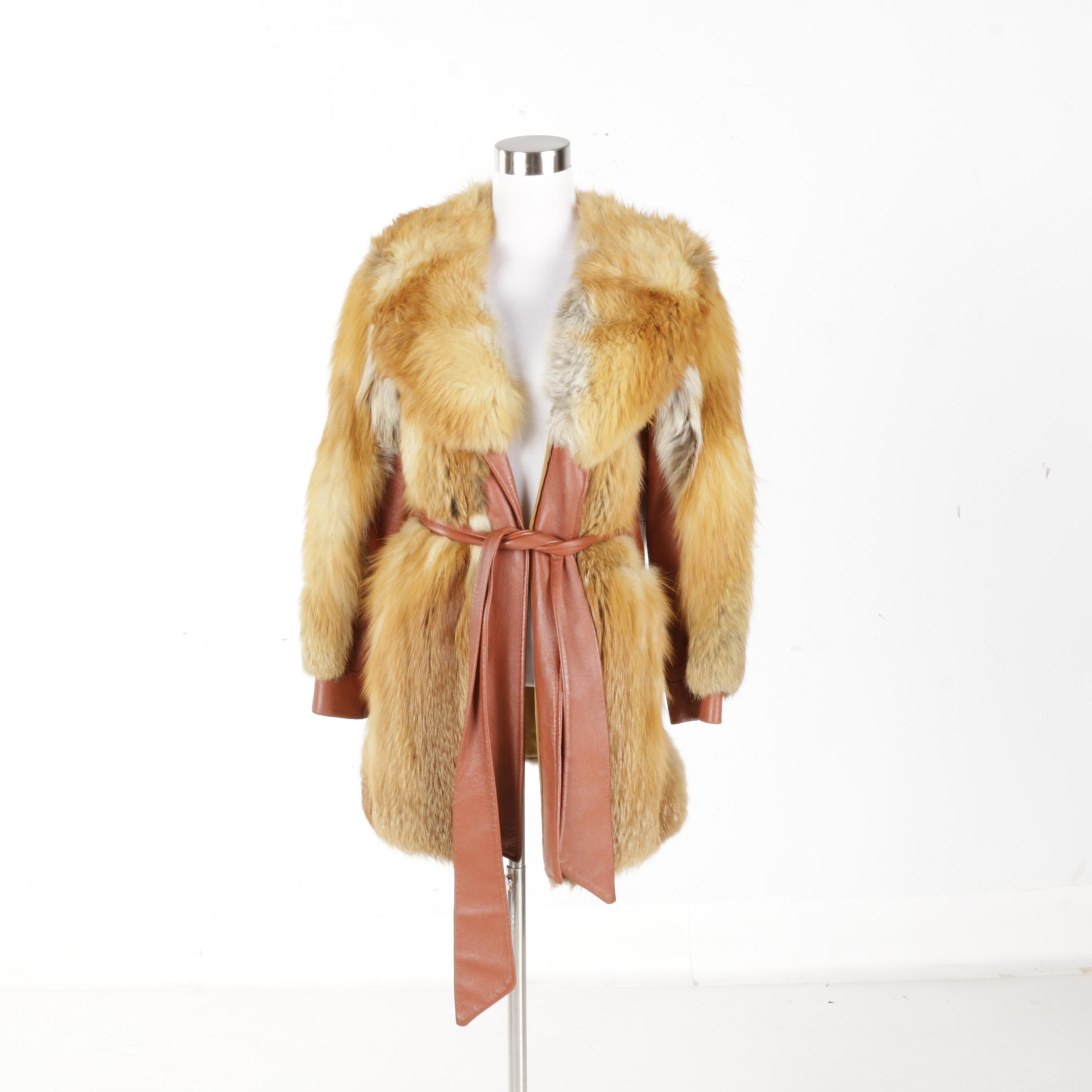 Women's Vintage Red Fox Fur and Leather Coat