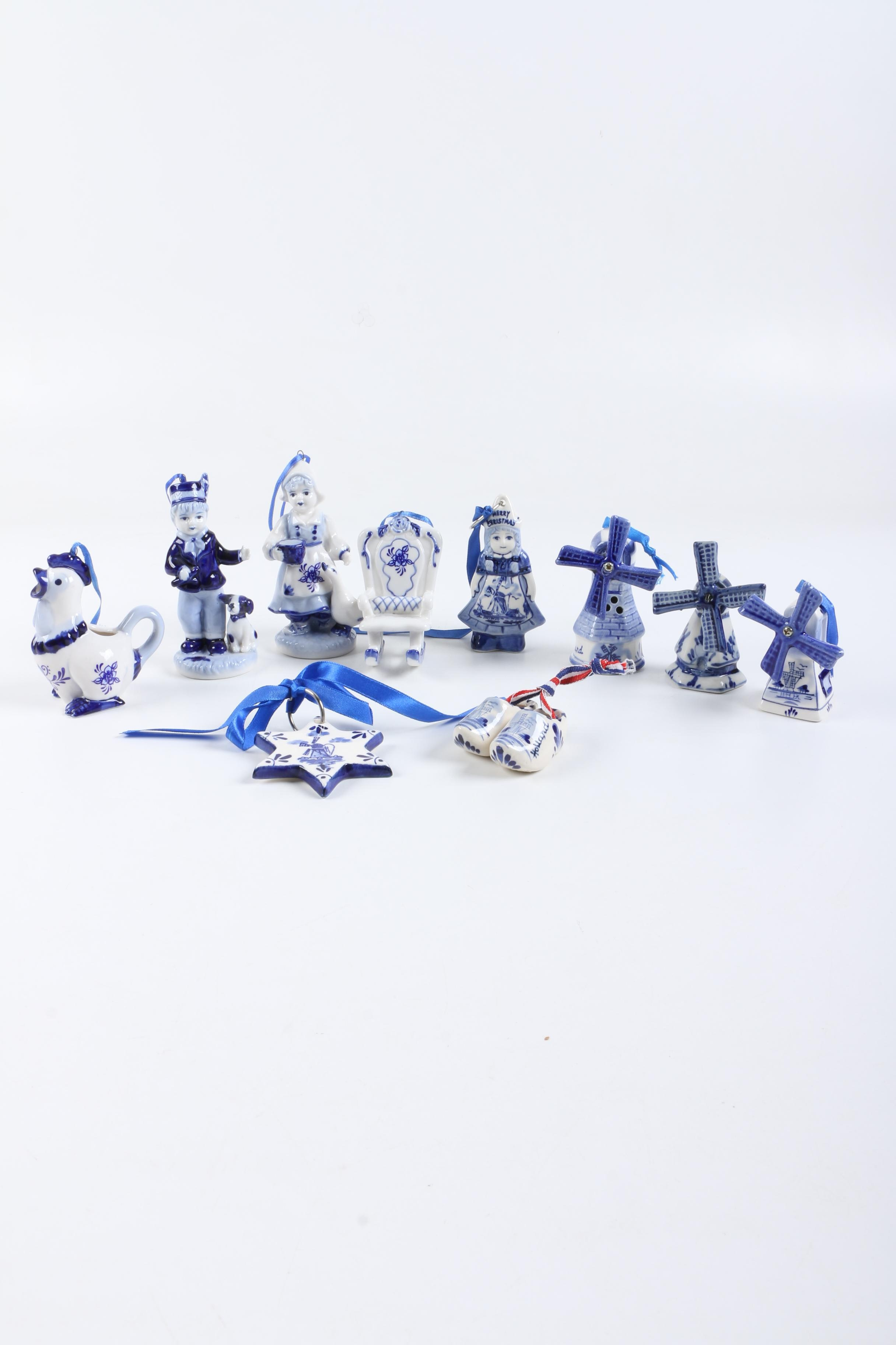 Blue and White Ceramic Christmas Tree Ornaments