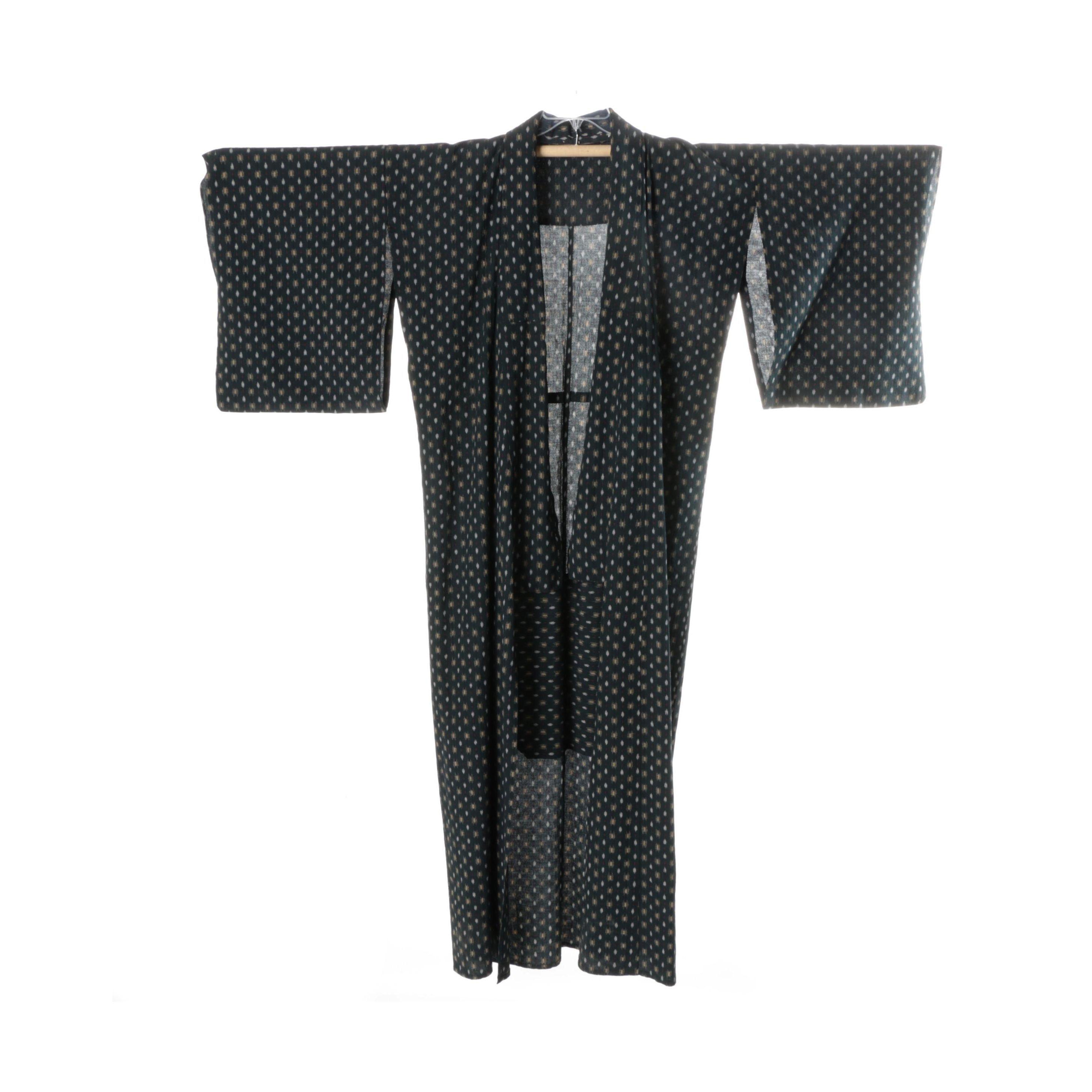 Vintage Japanese Kasuri Woven Yukata Kimono
