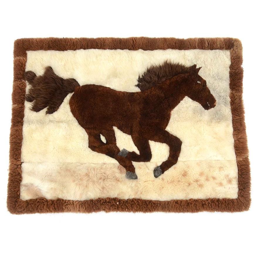 Alpaca Horse Design Throw Rug Wall Hanging Ebth