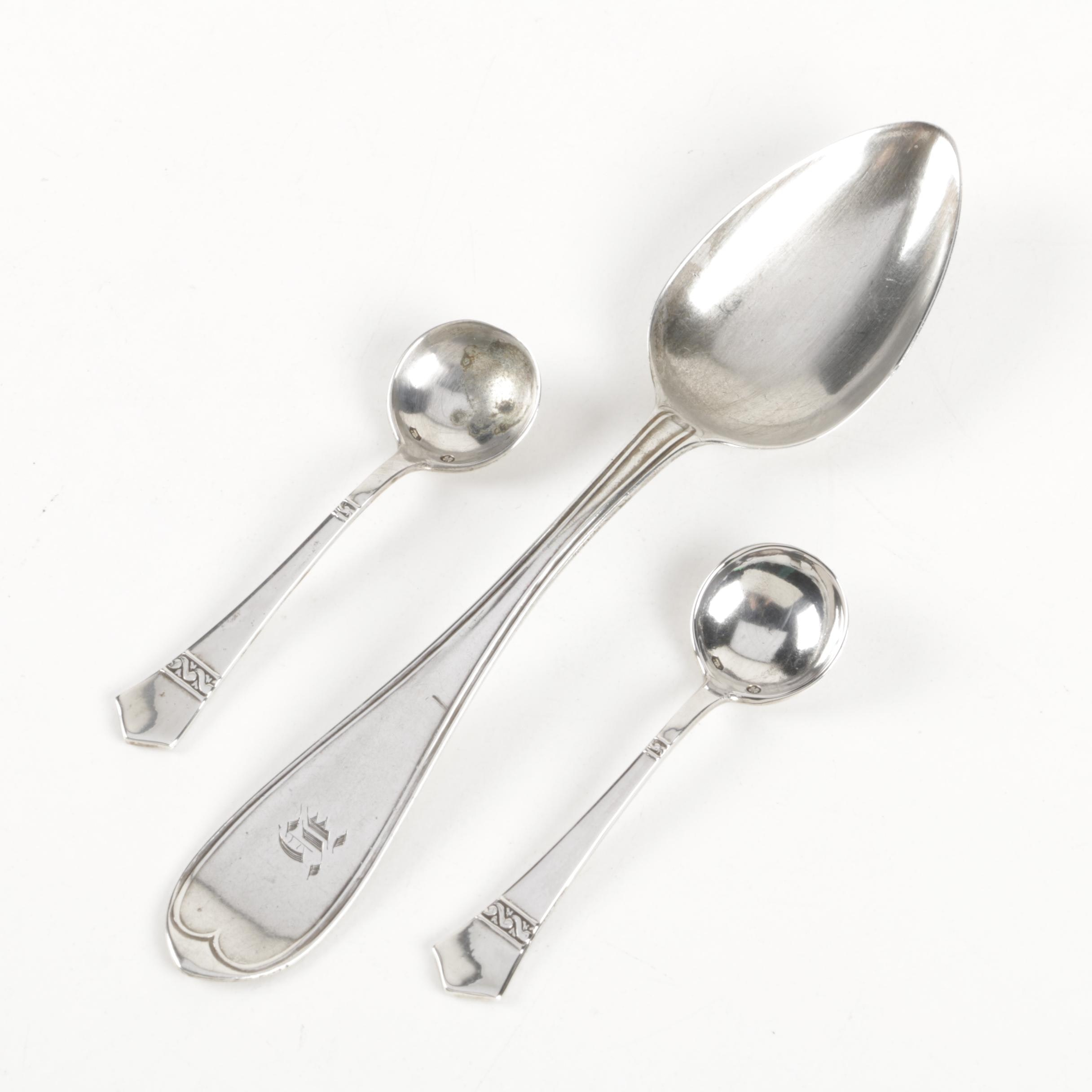 19th Century 800 Silver Spoon with Dubarry Handled Salt Spoons