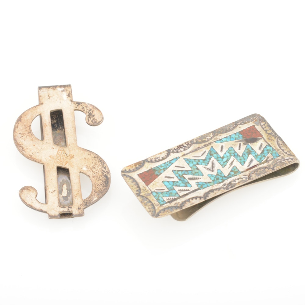 Sterling Silver Money Clips Featuring Signed Admarn