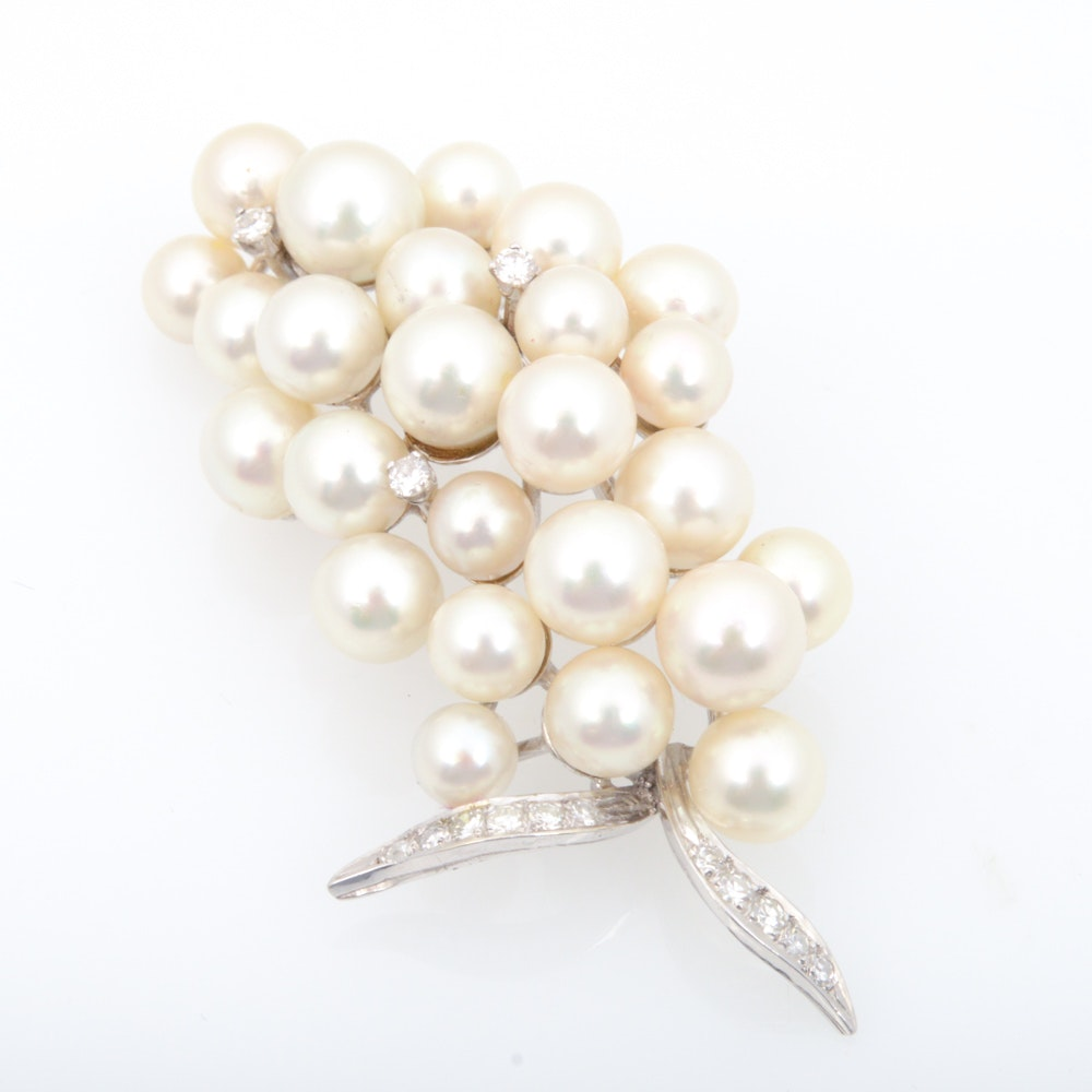 14K White Gold Pearl and Diamond Brooch