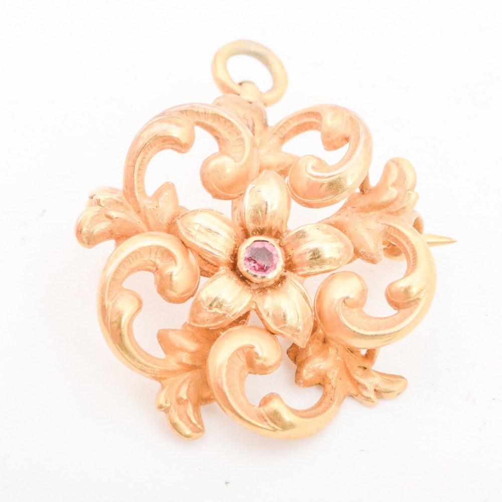 14K Yellow Gold Synthetic Ruby Convertible Brooch Pendant