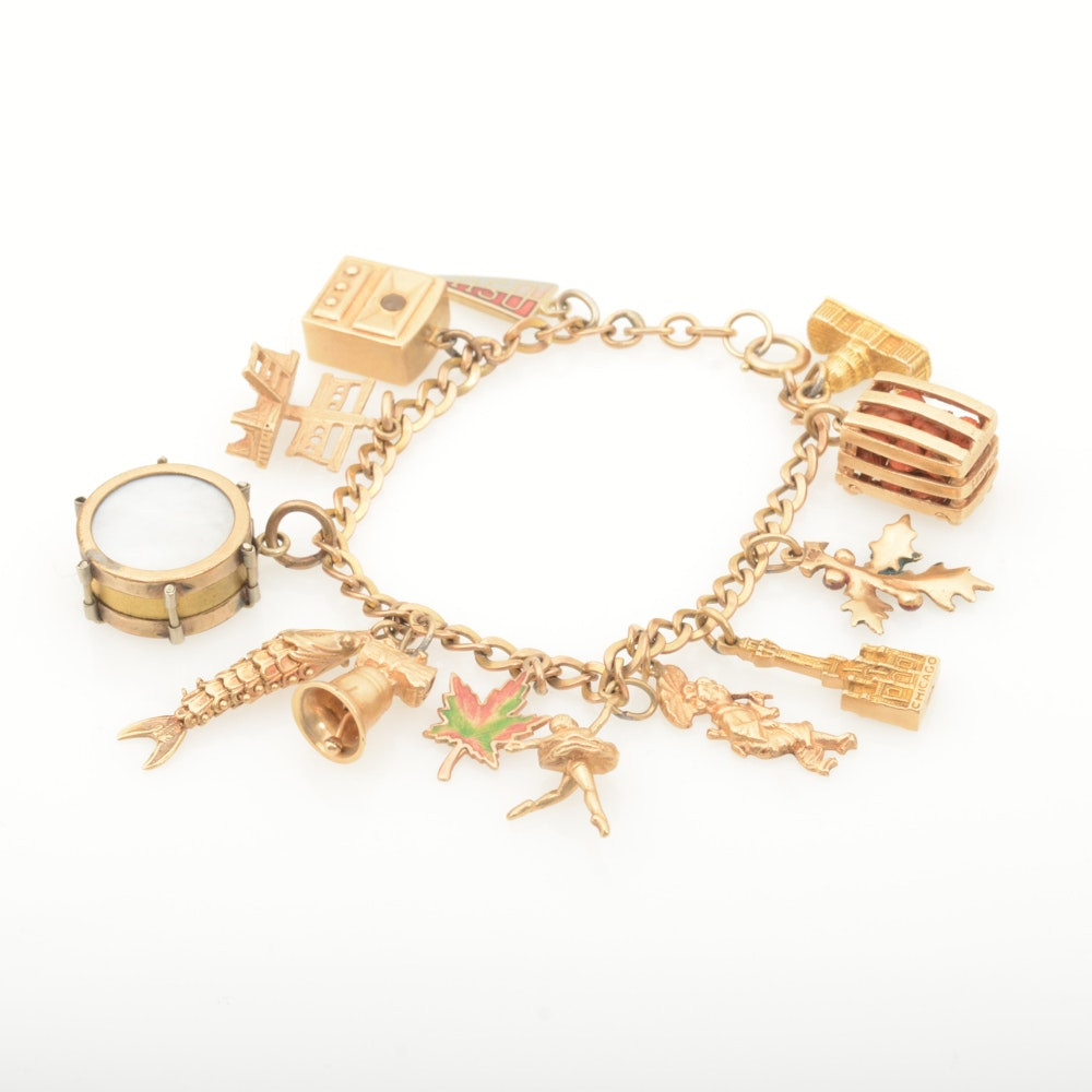 10K and 14K Yellow Gold Charm Bracelet