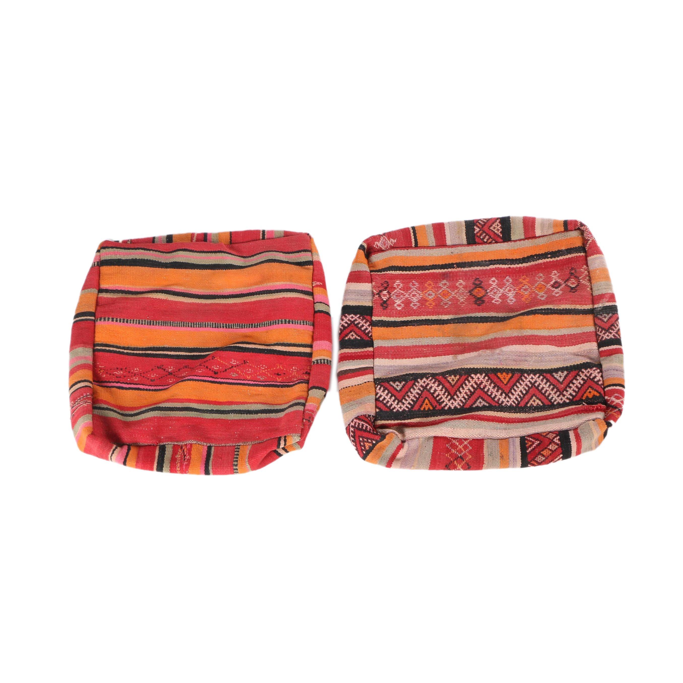 Pair of Handwoven Moroccan Berber Wool Rug Pillow Covers