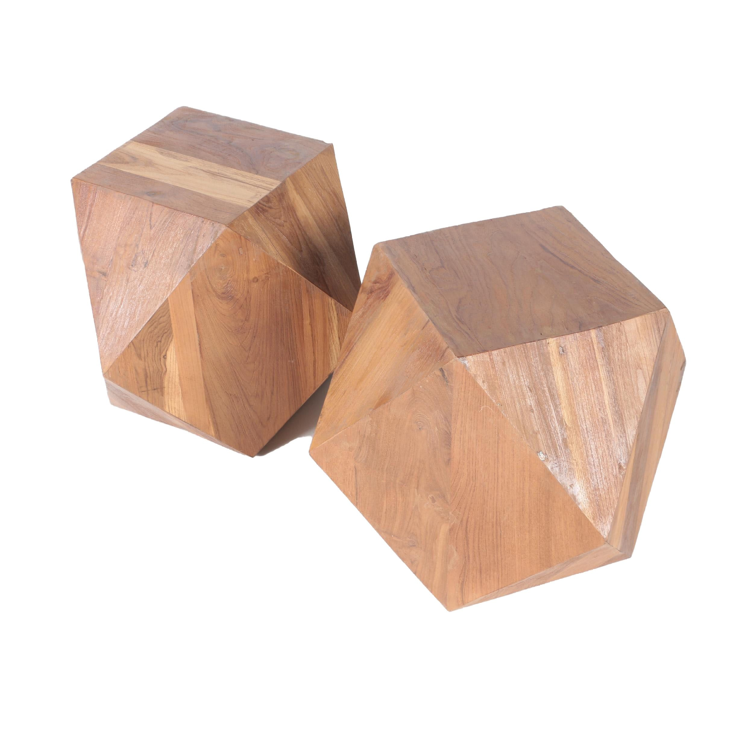 Faceted Wooden Block Side Tables