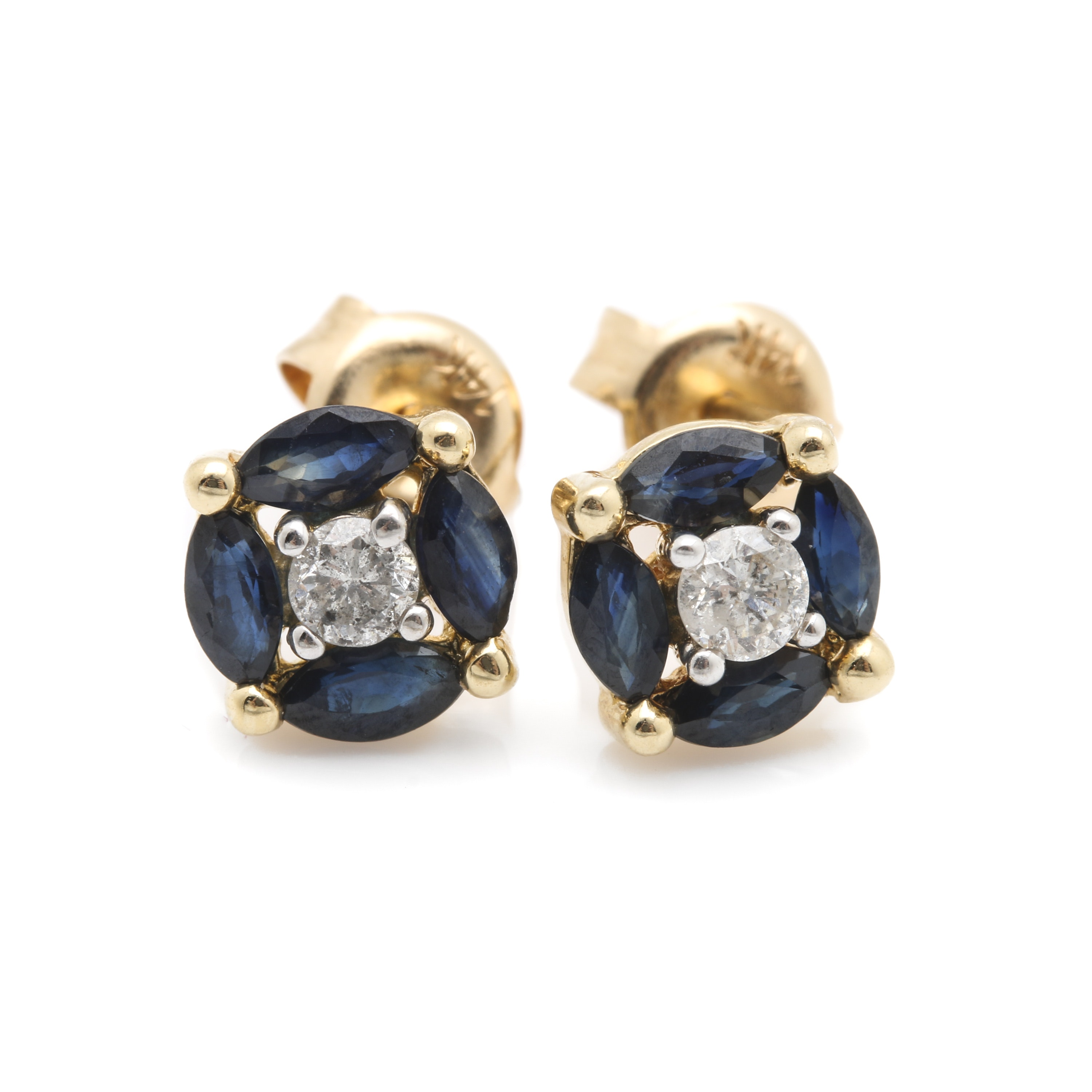 14K Yellow Gold Diamond and Sapphire Earrings