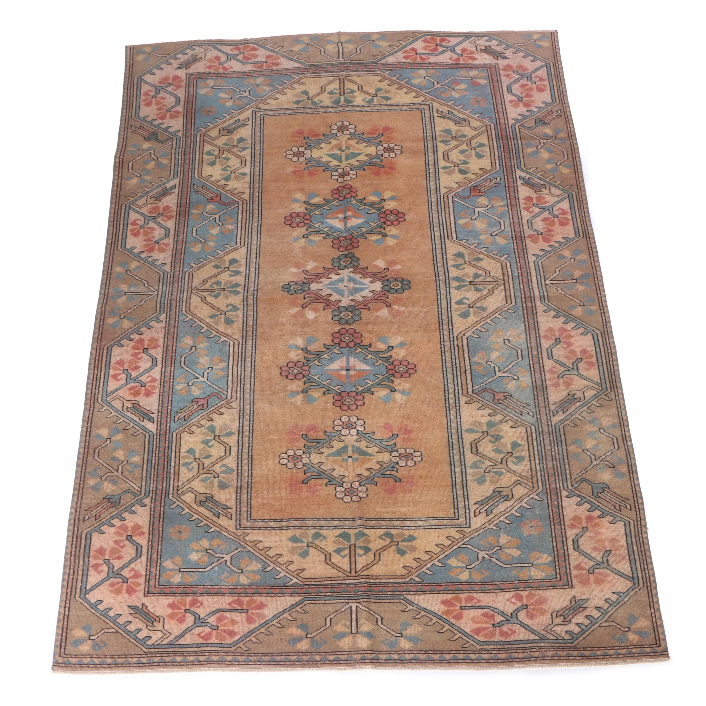 Hand-Knotted Kazak Style Wool Area Rug