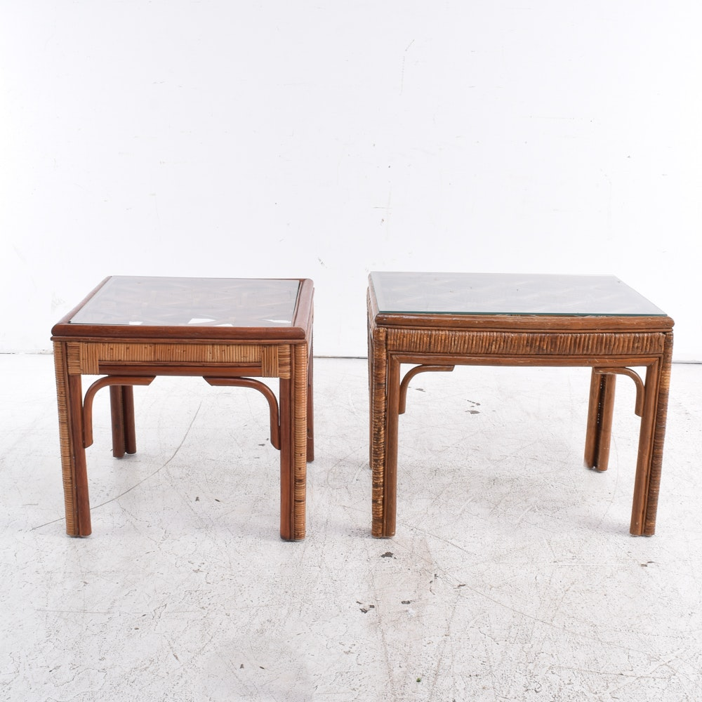 Bentwood and Wicker Side Tables