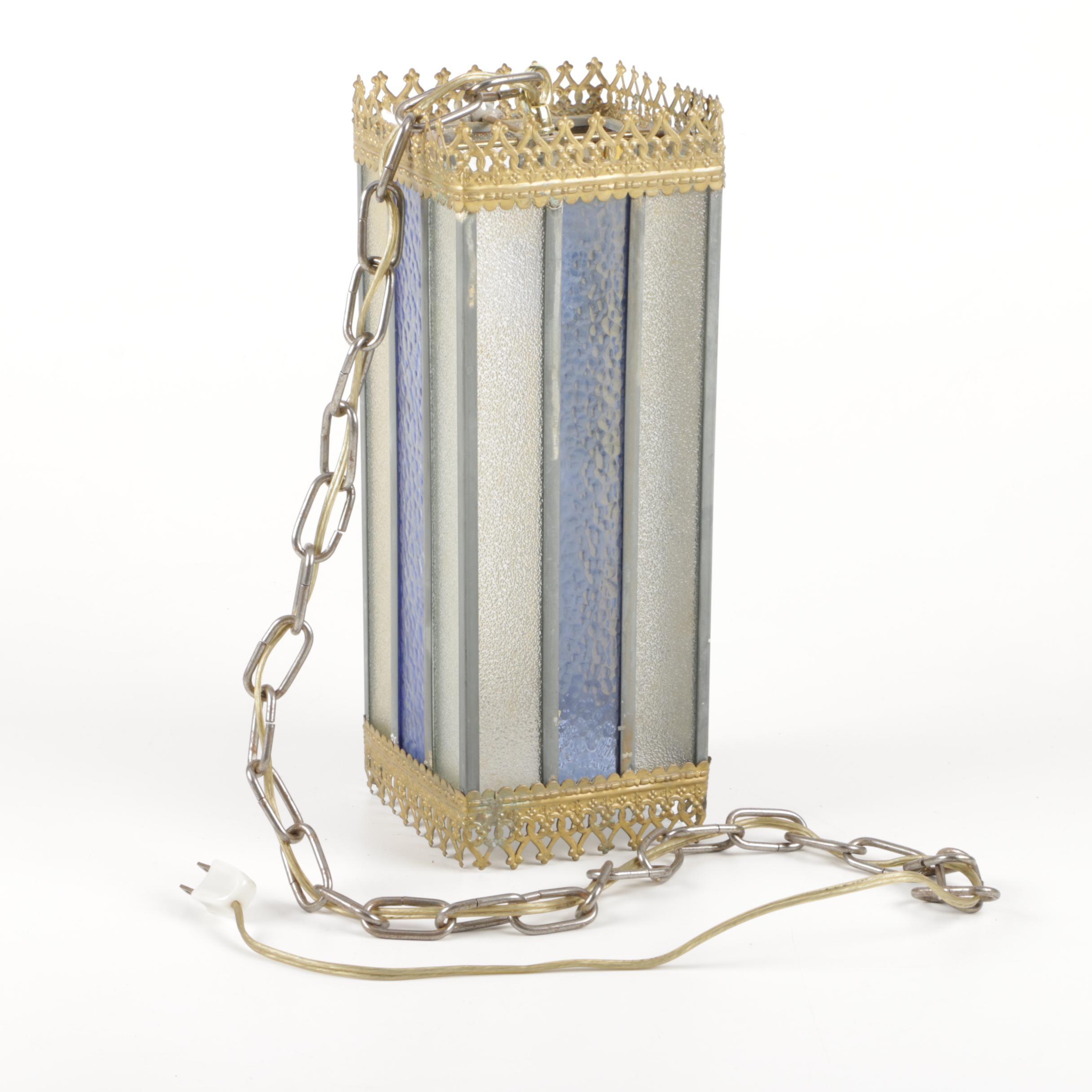 Vintage Metal and Glass Pendant Lamp