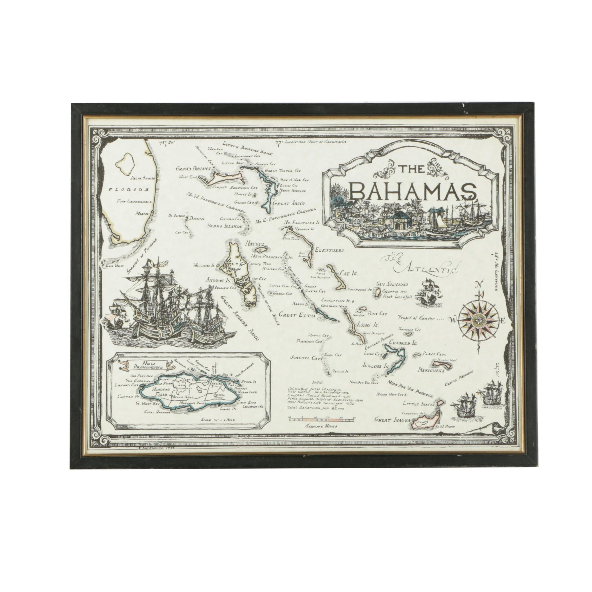 """Lithographic Map on Paper """"The Bahamas"""""""