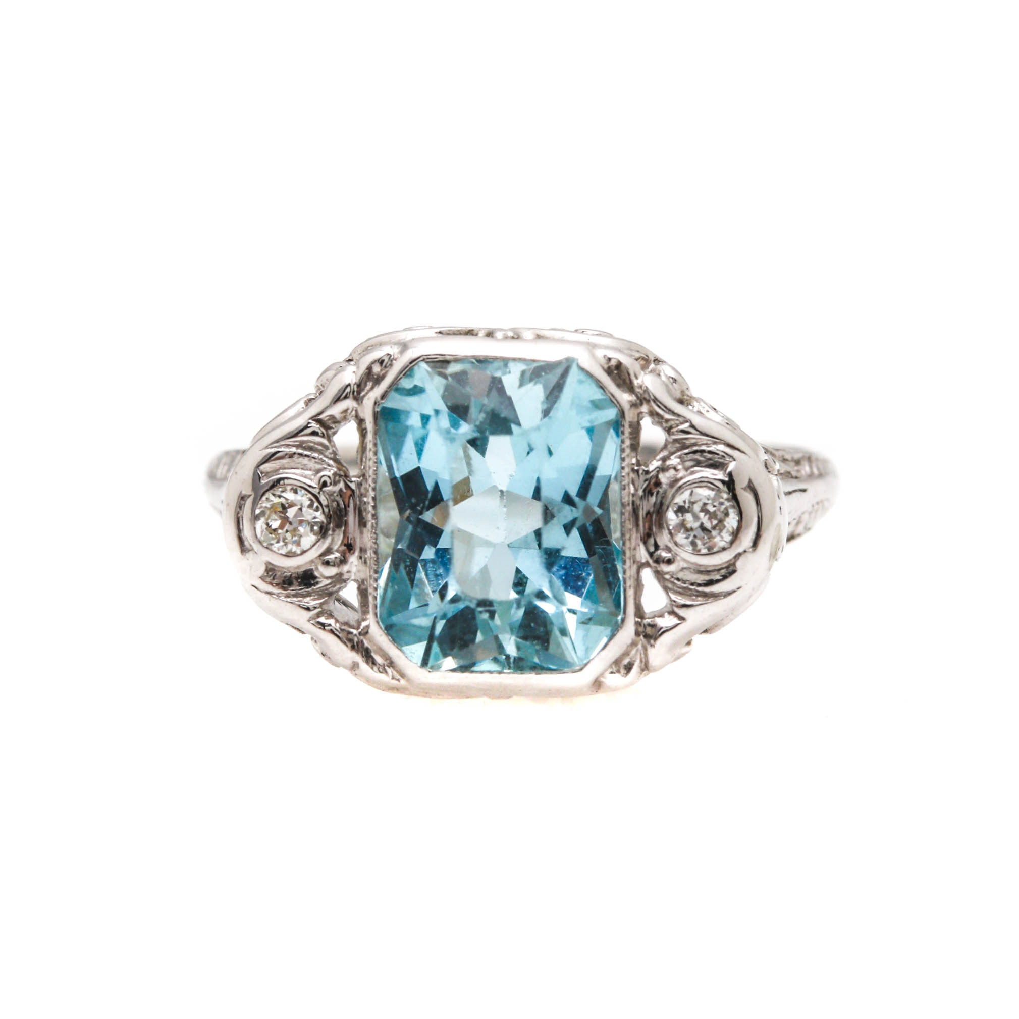 14K and 18K White Gold Aquamarine and Diamond Ring