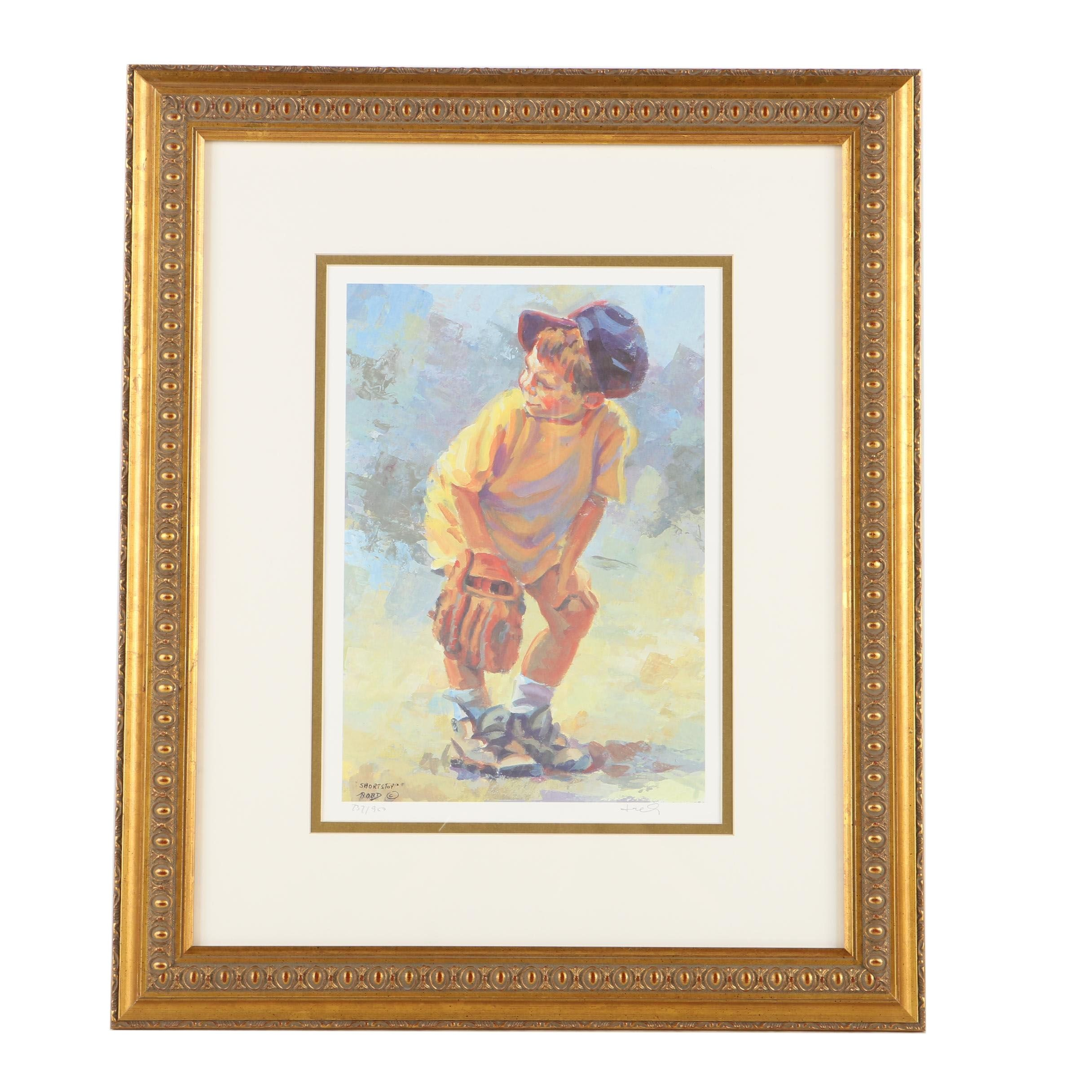 """Lucelle Rad Limited Edition Offset Lithograph """"Short Stop"""""""