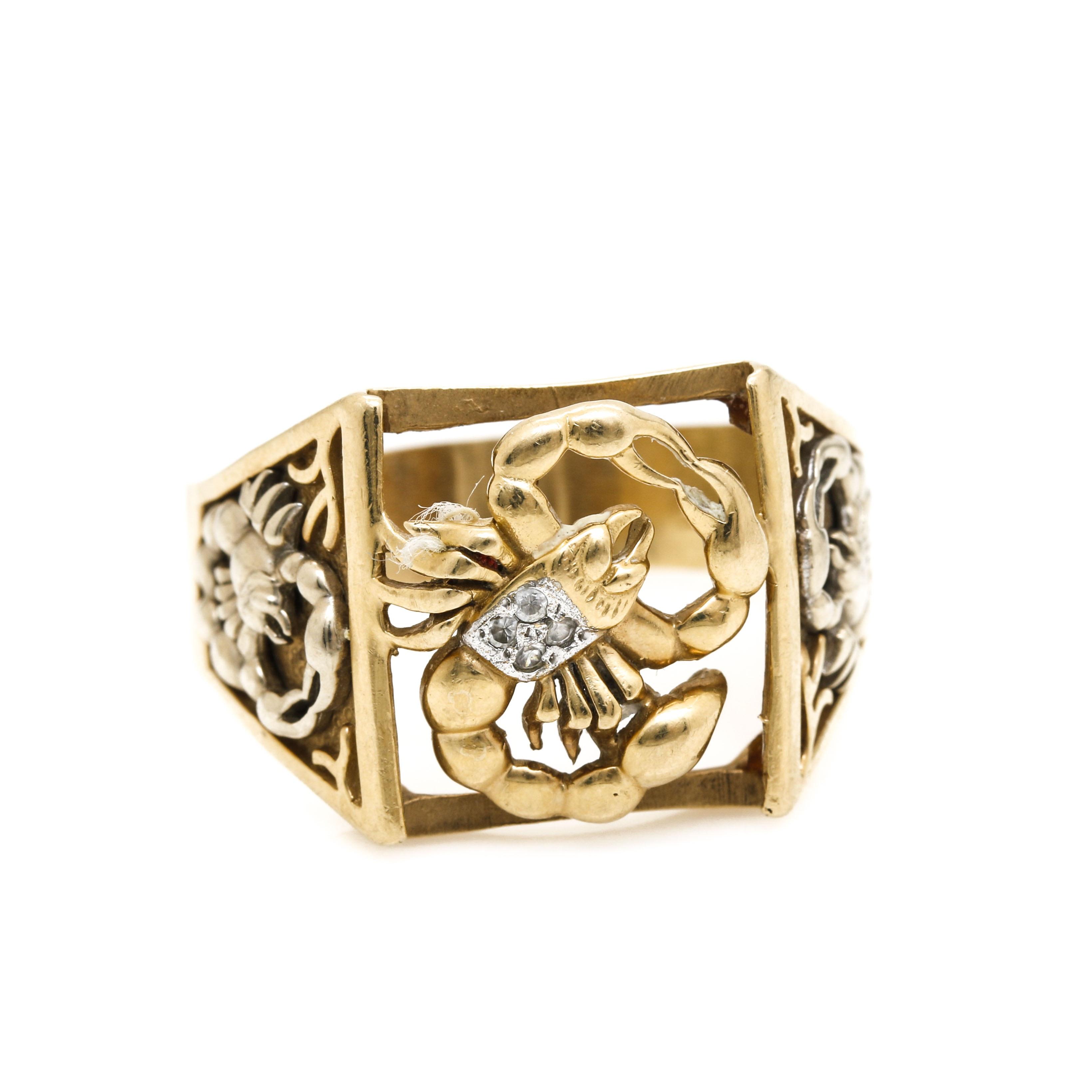 14K Yellow Gold Scorpio Zodiac Motif Ring with White Topaz Accents