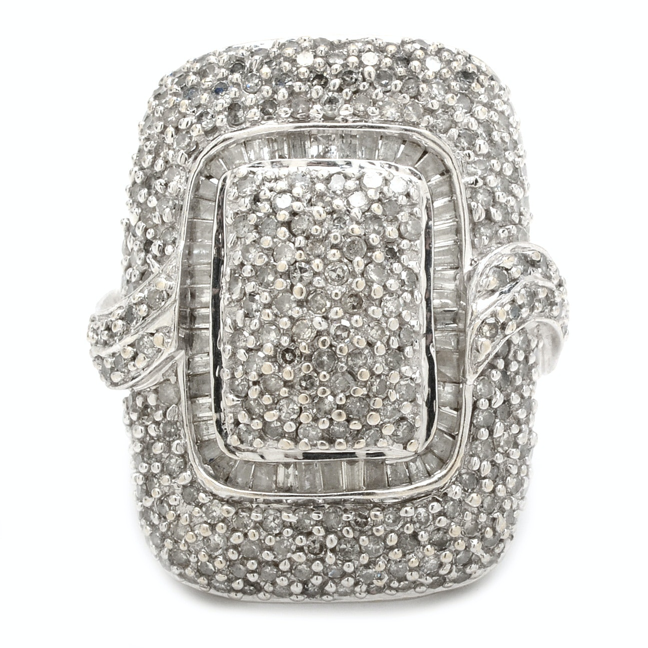 14K White Gold 2.11 CTW Pavé Diamond Fashion Ring