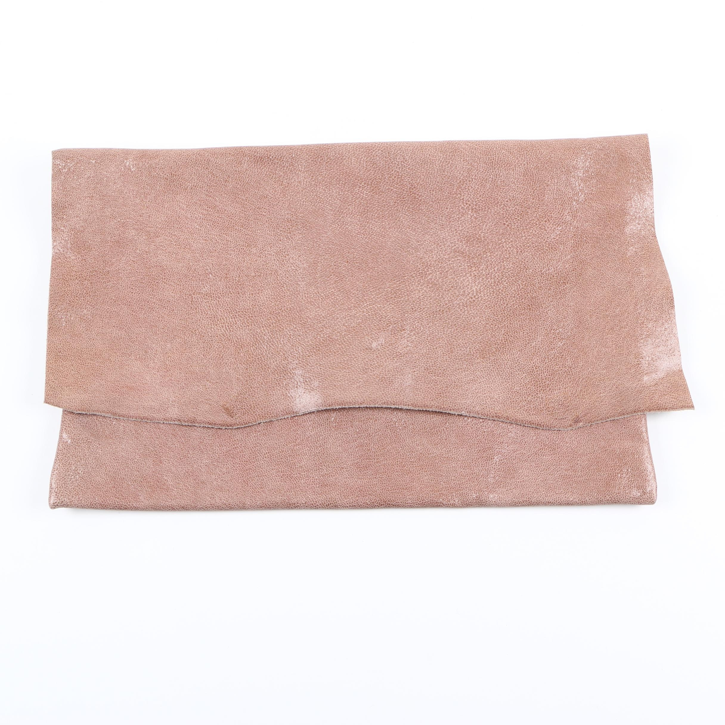 Leather Feather Stone Taupe Clutch