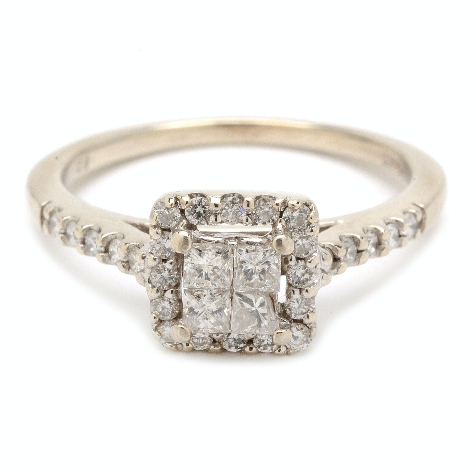14K White Gold Princess Cut Diamond Cluster Ring
