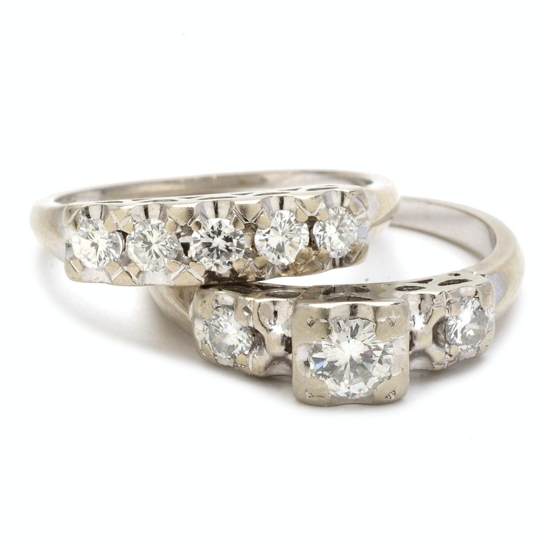 Vintage 14K White Gold Diamond Wedding Ring Set