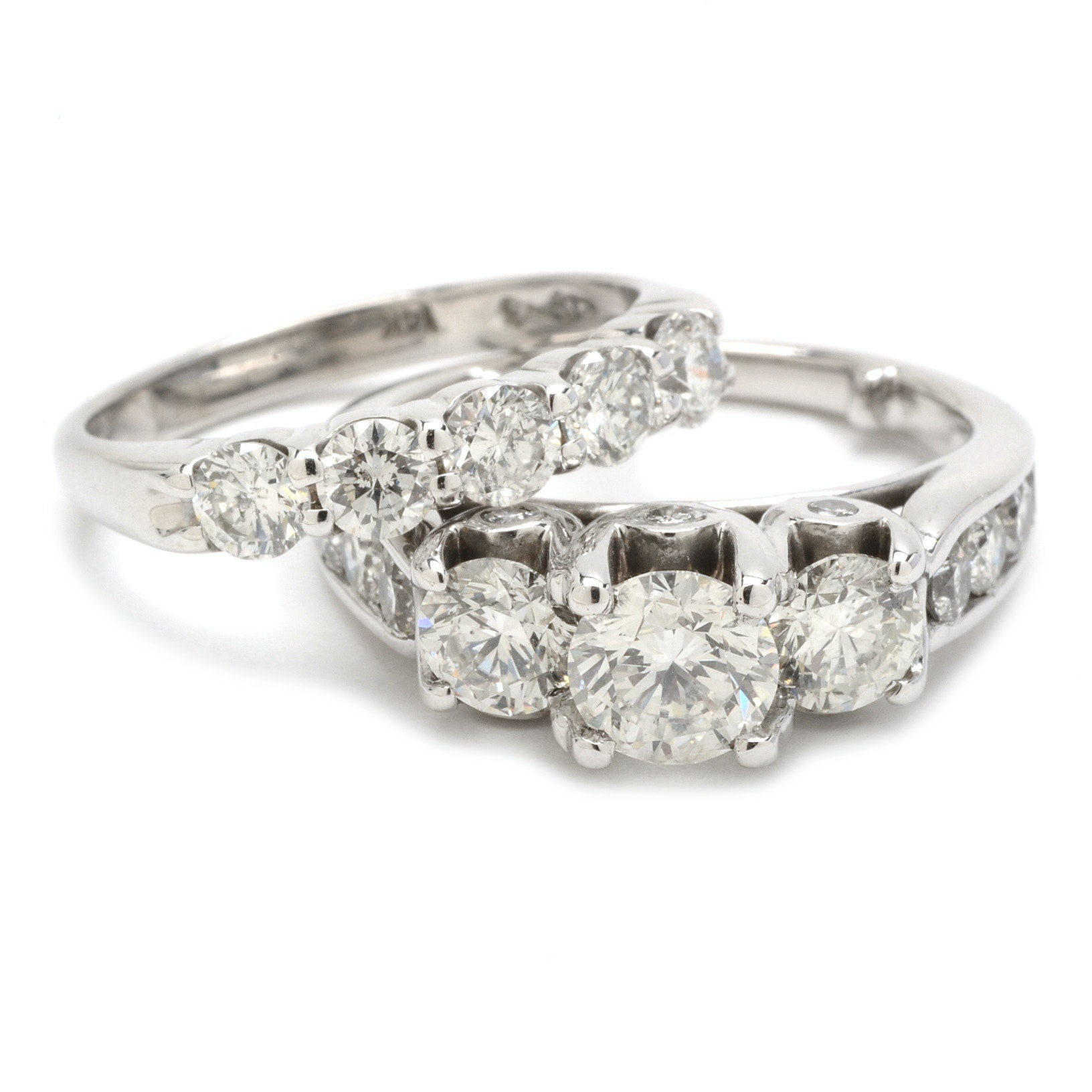 14K White Gold 2.58 CTW Diamond Wedding Ring Set