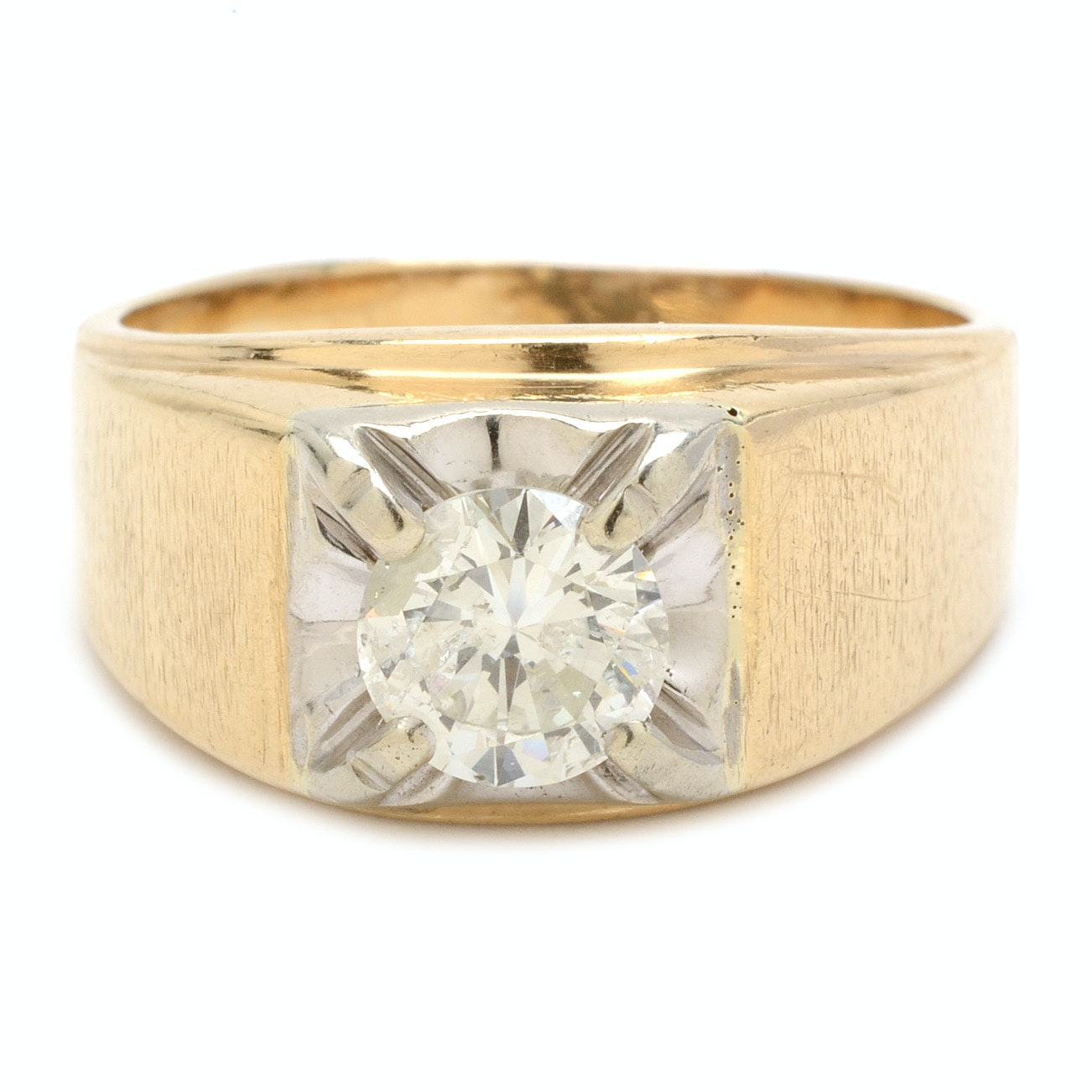 10K Yellow Gold 1.09 Carat Diamond Ring