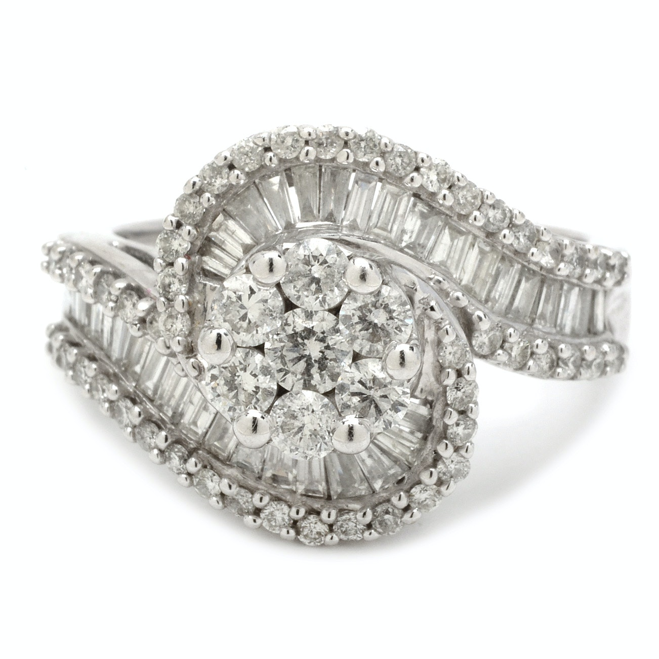 14K White Gold 1.95 CTW Diamond Bypass Cluster Ring