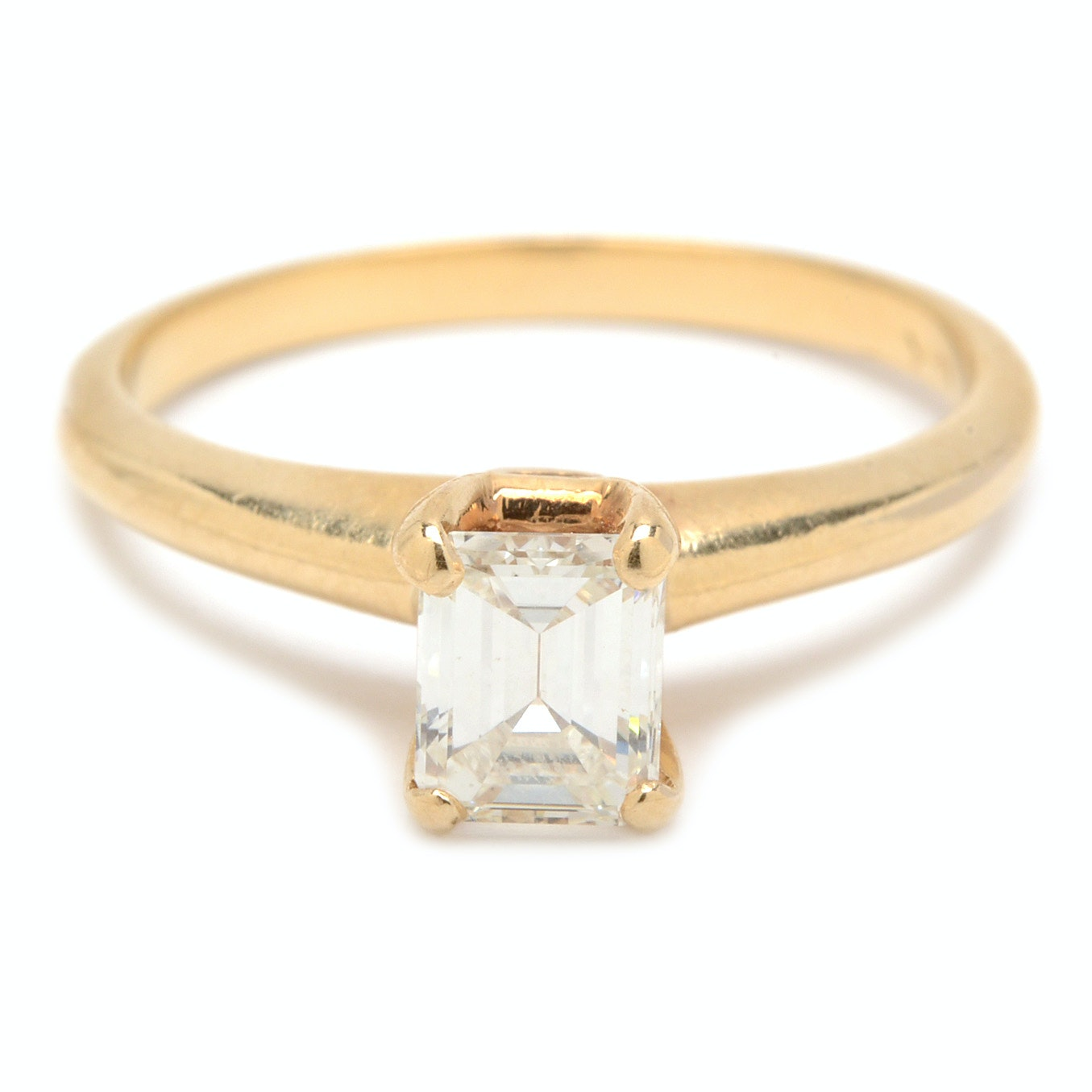 14K Yellow Gold Emerald Cut Diamond Solitaire Ring