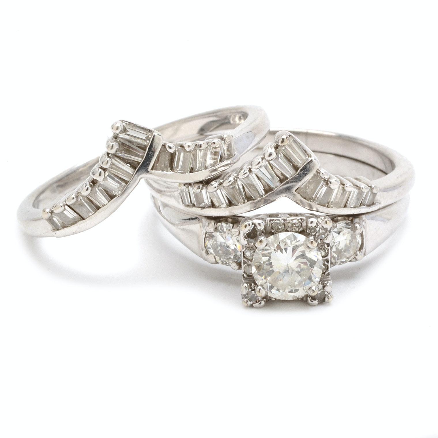 Platinum and 14K White Gold 2.28 CTW Diamond Wedding Ring Set