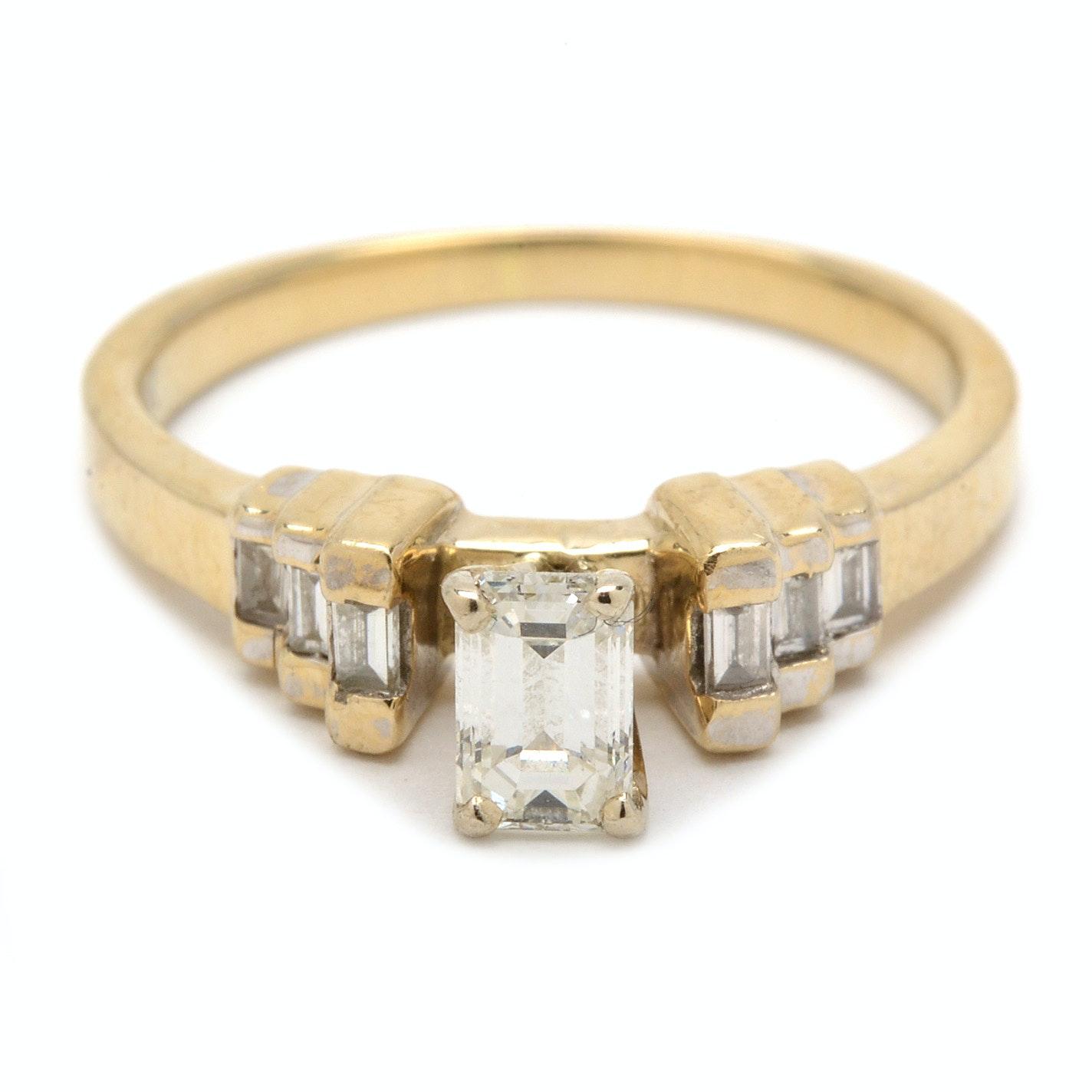 18K Yellow Gold Emerald Cut Diamond Ring