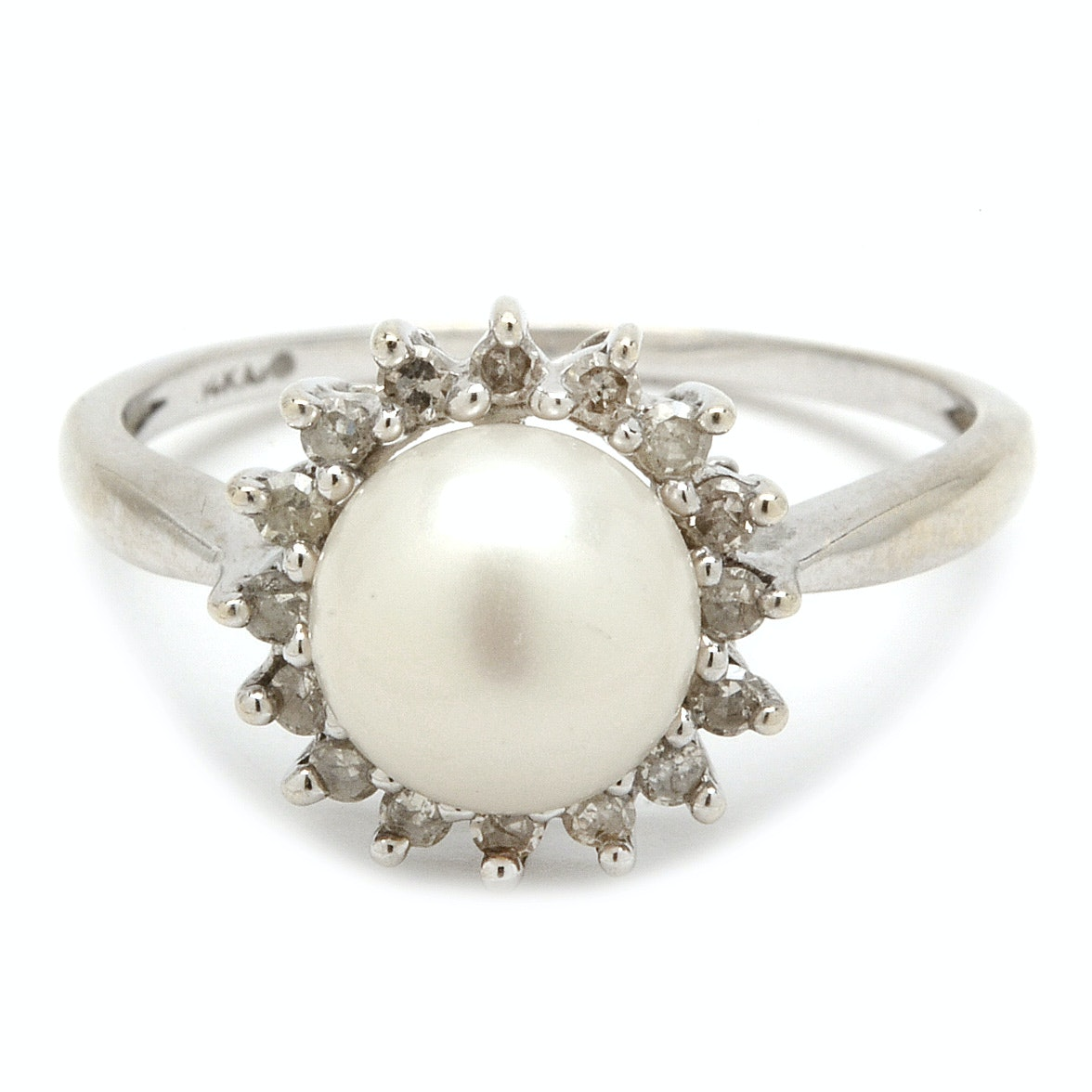 14K White Gold Cultured Pearl Diamond Halo Ring