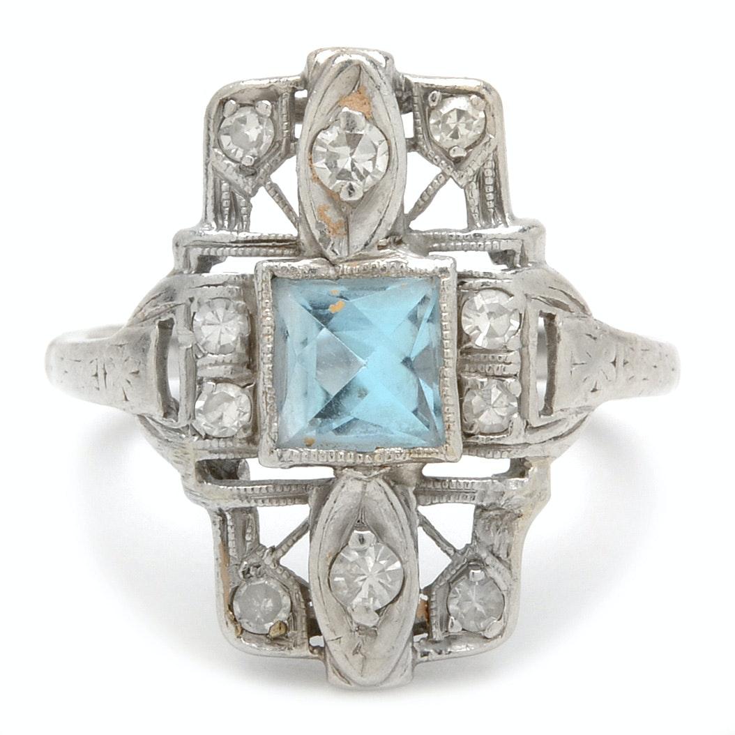 Vintage Platinum Blue Topaz and Diamond Ring