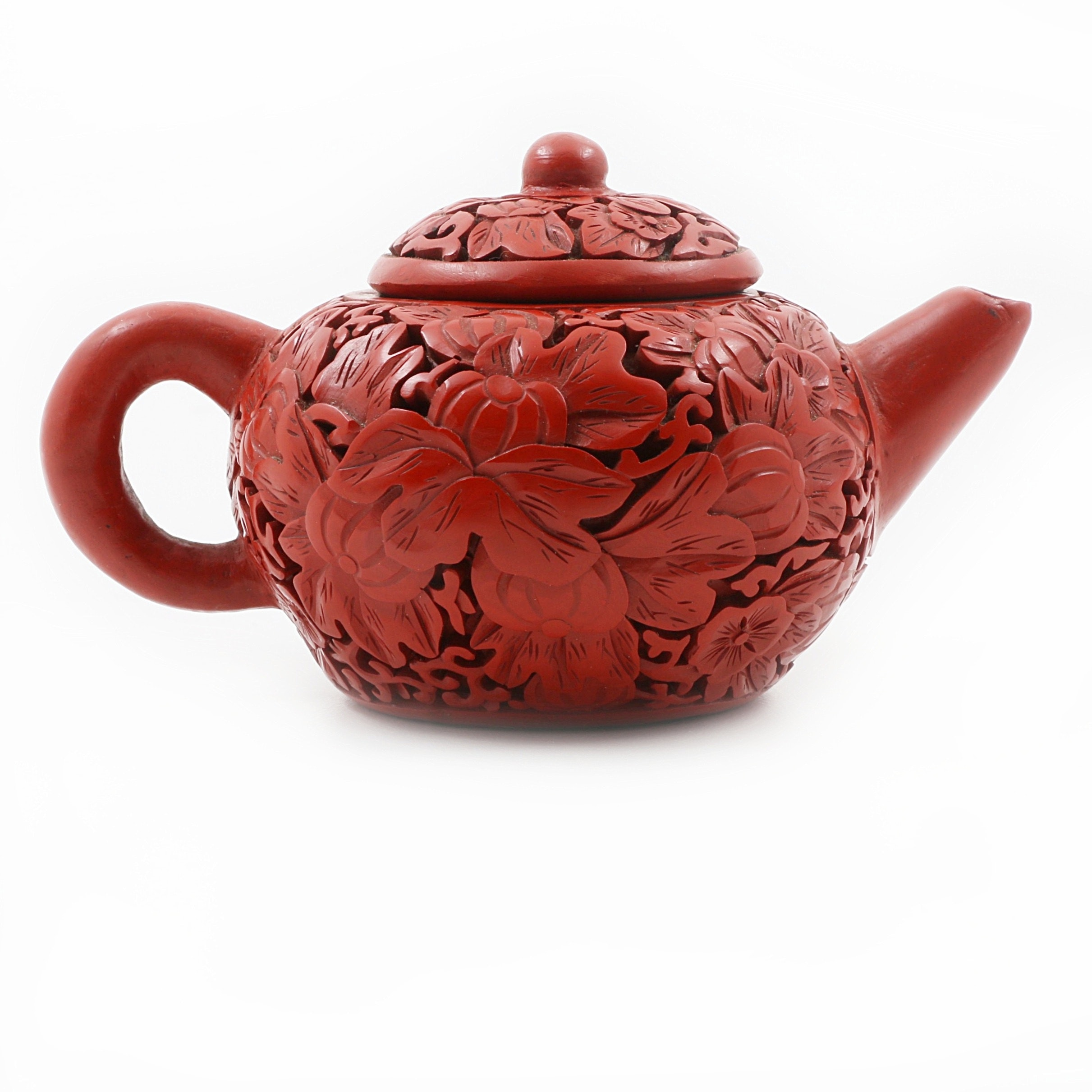 Chinese Carved Cinnabar Teapot