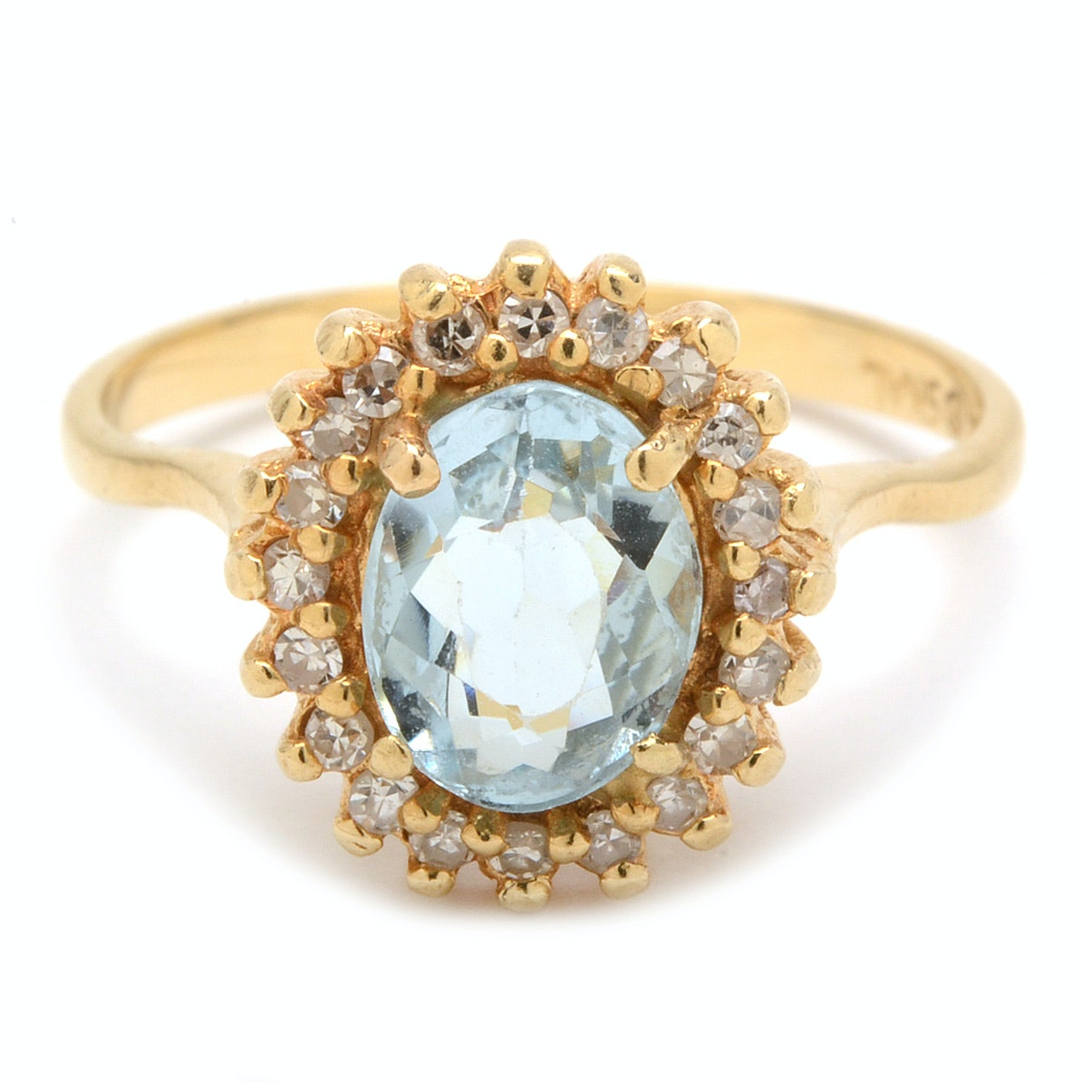 14K Yellow Gold Aquamarine and Diamond Halo Ring