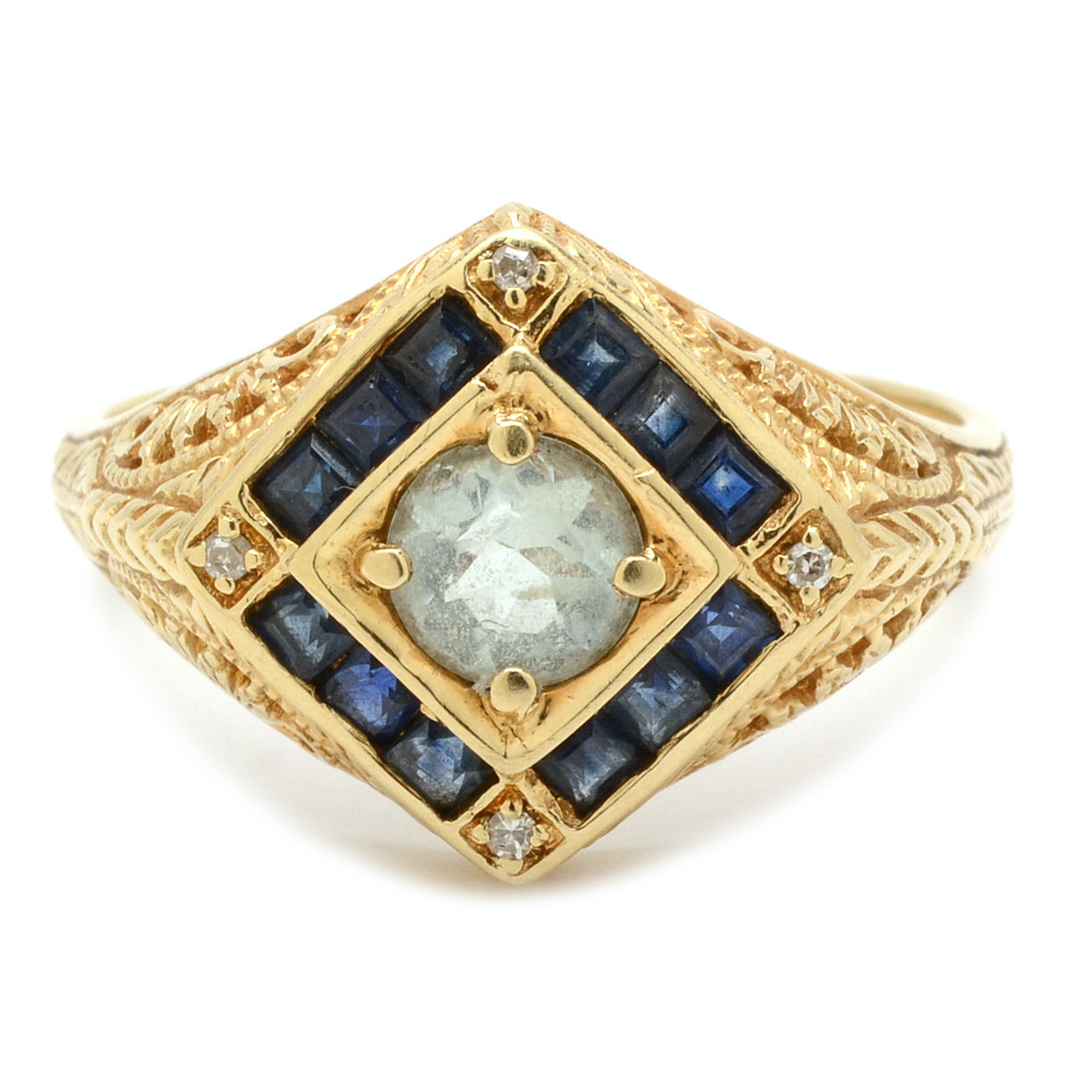 Vintage 14K Yellow Gold Aquamarine Sapphire and Diamond Ring