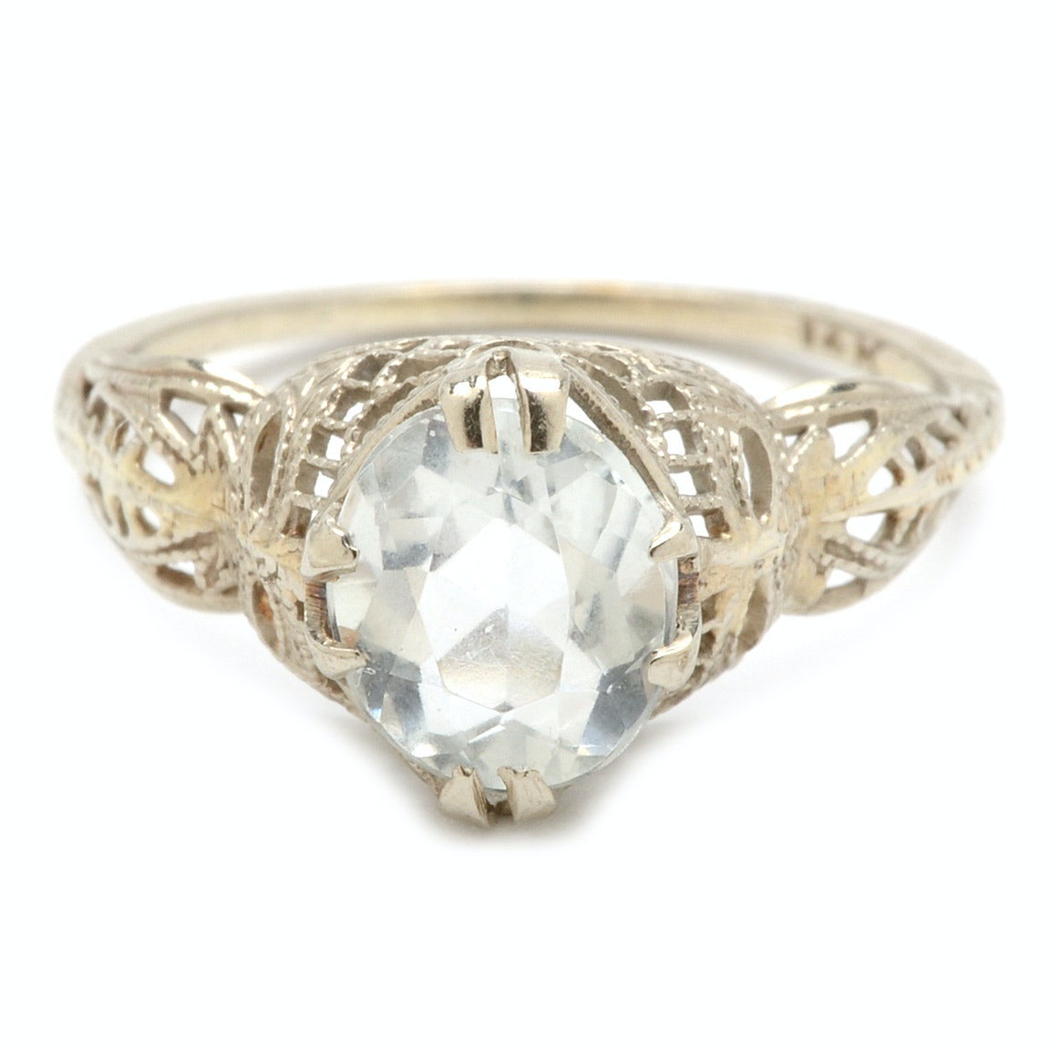 Vintage 14K White Gold 1.05 Carat Aquamarine Filigree Ring