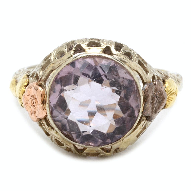 Vintage 14K White Gold Purple Spinel Filigree Ring