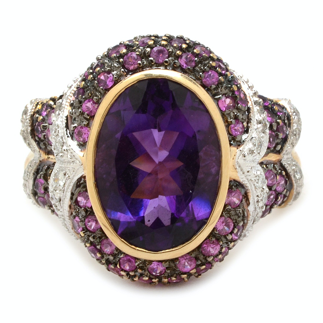 14K Yellow Gold Amethyst Pink Sapphire and Diamond Fashion Ring