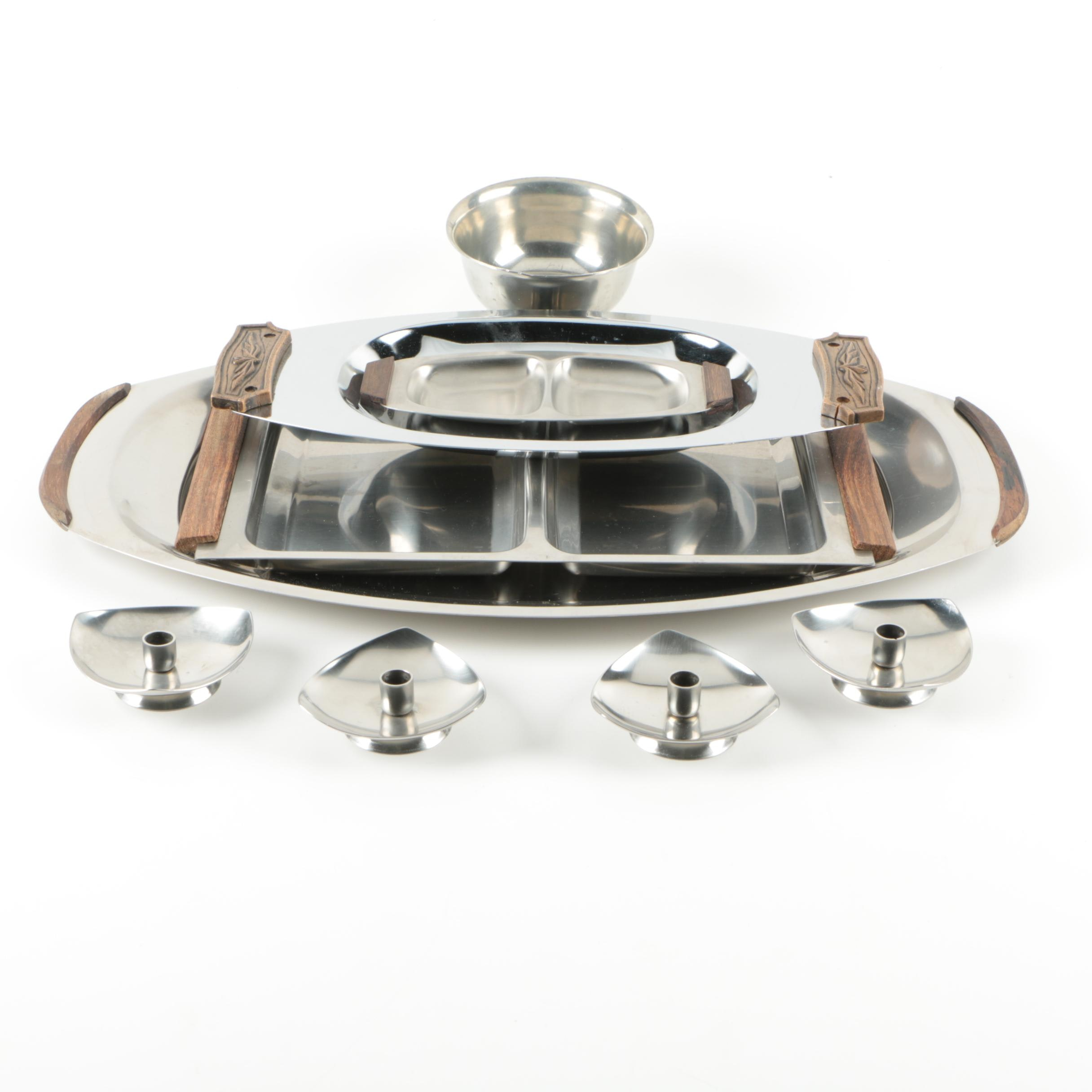 Vintage Danish Modern Pewter and Stainless Steel Décor