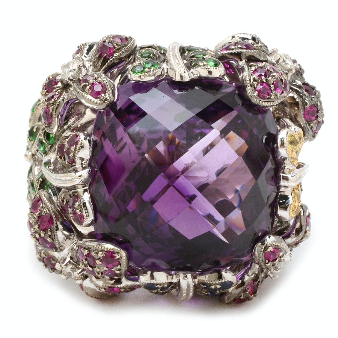 14K White Gold Amethyst Gemstone and Diamond Statement Ring
