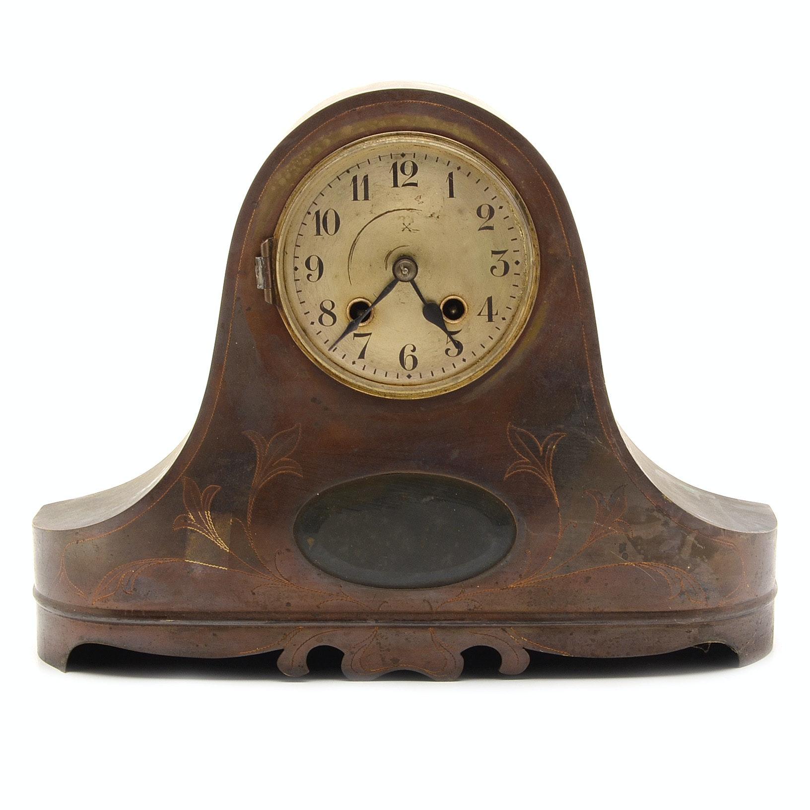 Antique Metal Casing Mantel Clock